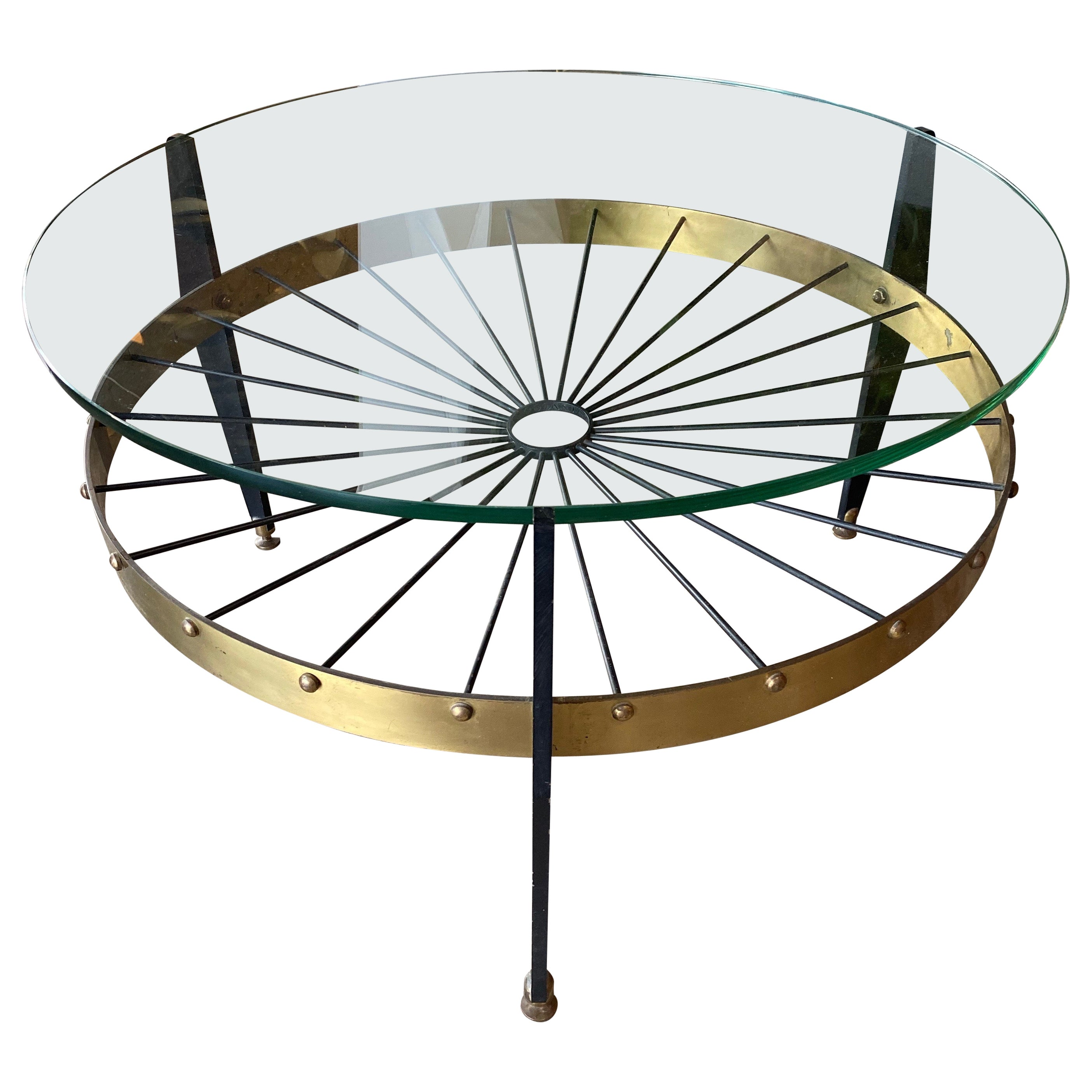 Italian Midcentury Round Coffee Table in Glass and Brass, 1960s