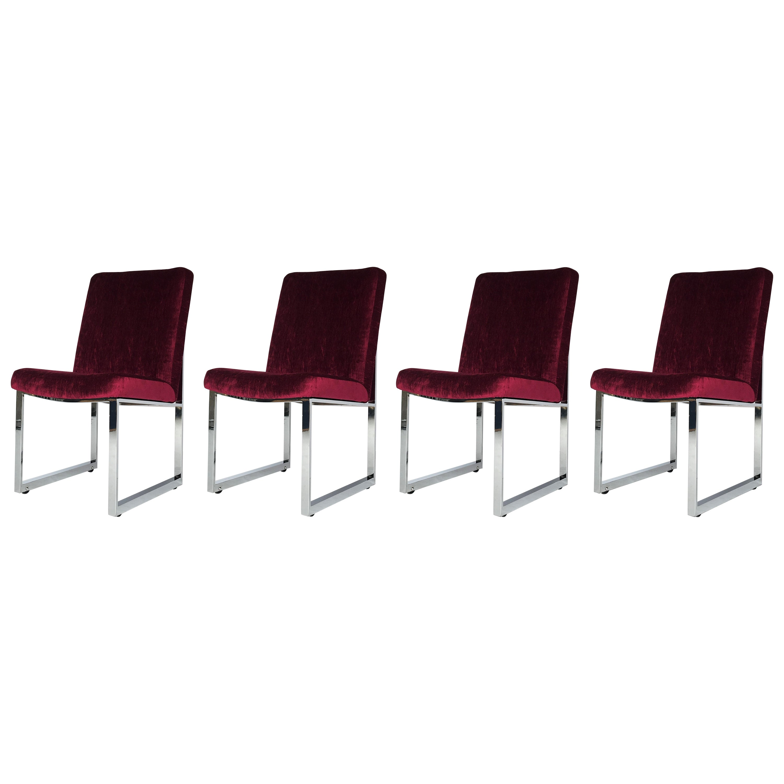 Flat-Bar Chrome Dining Chairs by Milo Baughman for Thayer Coggin