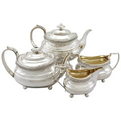 19th Century Sterling Silver Four Piece Tea Service, 1816