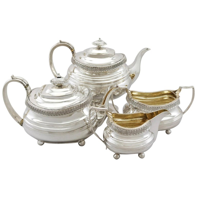 19th Century Sterling Silver Four Piece Tea Service, 1816 For Sale