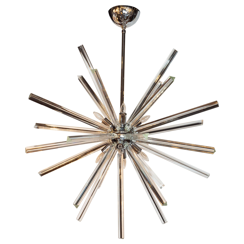 Modernist Chrome and Hand Blown Murano Glass Triedre Sputnik Chandelier