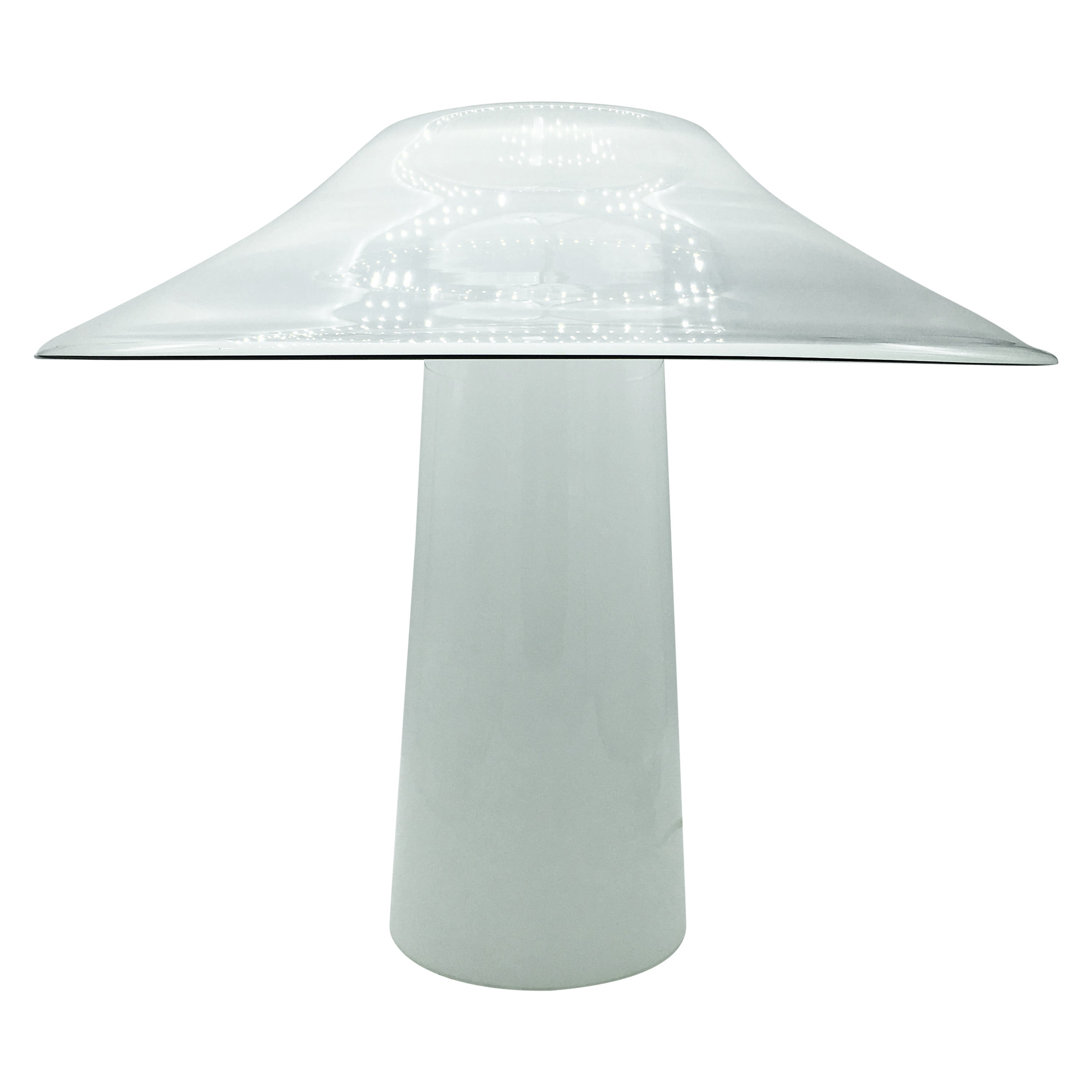 1970s Rare White Murano Glass Table Lamp by ITRE