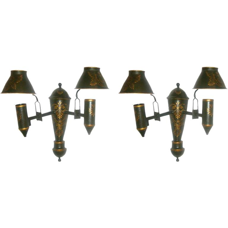 Pair of French Painted Tole Sconces