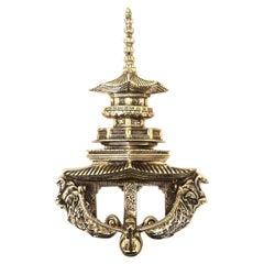 Large Scale Brass Pagoda Form Door Knocker