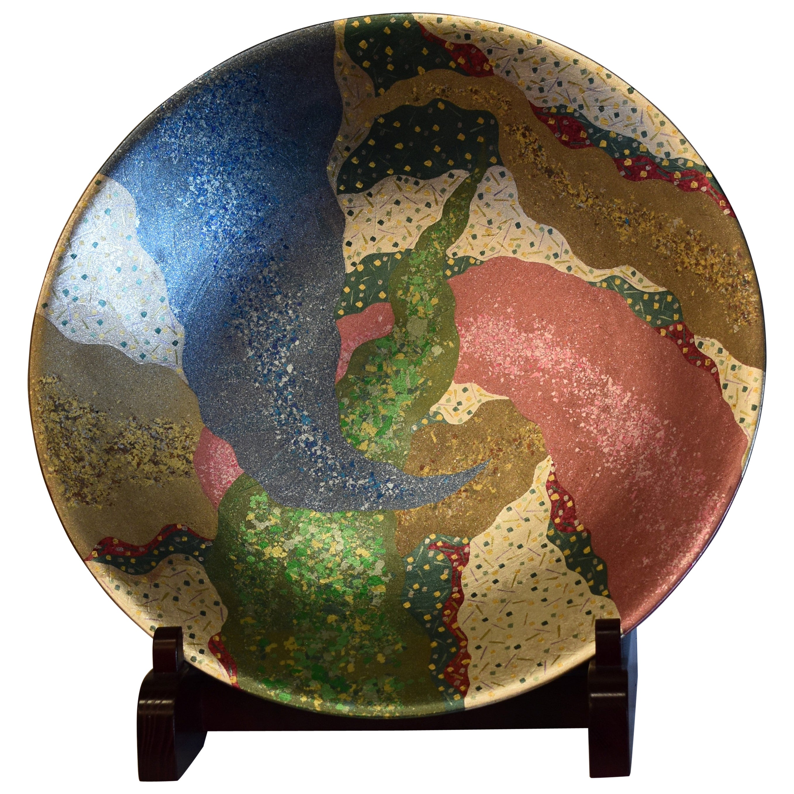 Large Green Blue Red Porcelain Deep Charger by Japanese Master Artist