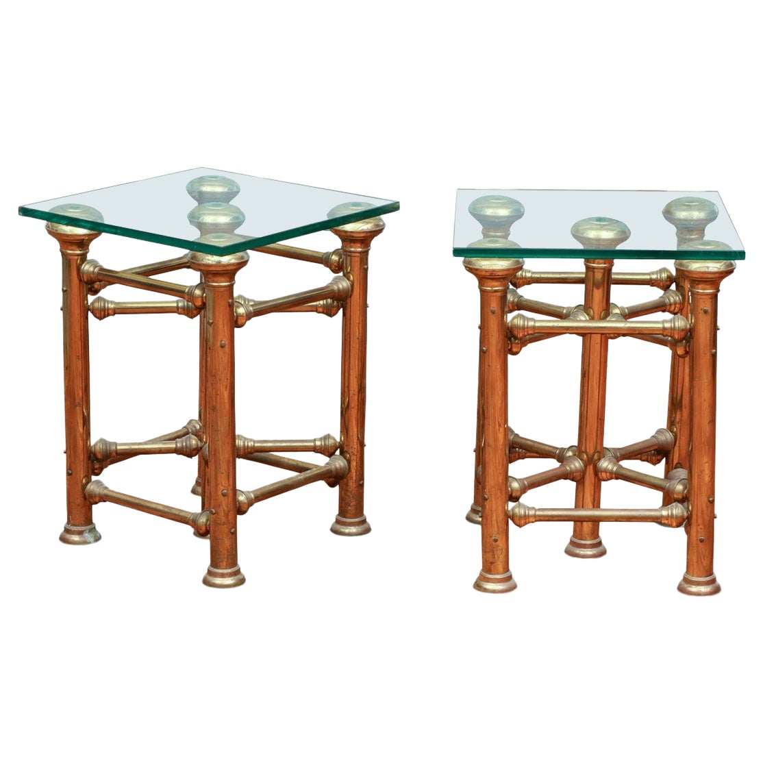Fine Pair of Brass Glass Topped Industrial Style End Tables