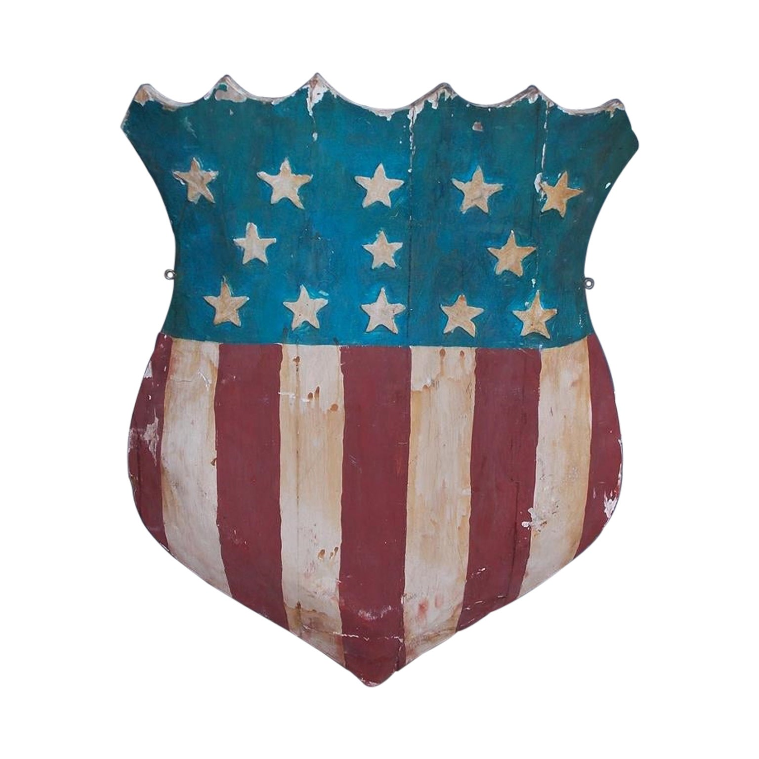 American Hand Carved and Painted Patriotic Shield with Raised Stars. C. 1870