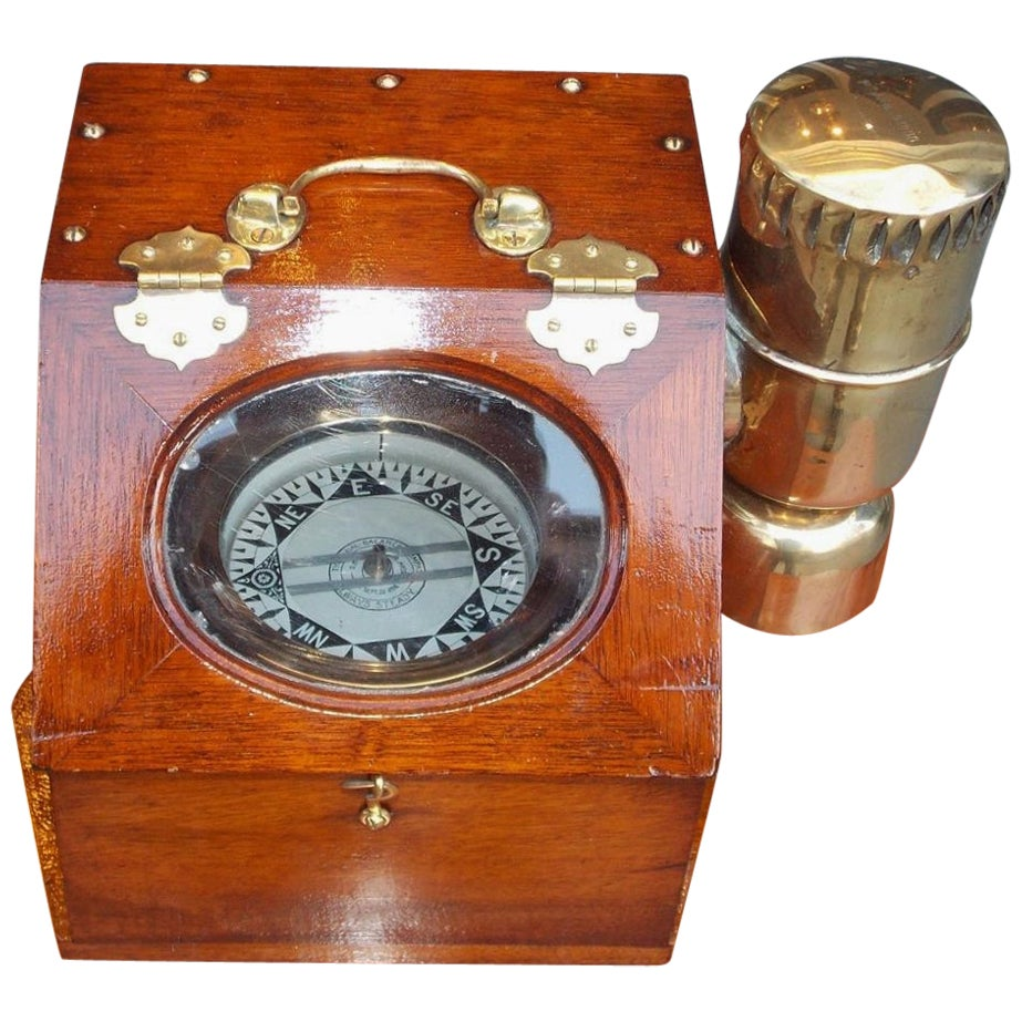 American Nautical Brass Yacht Binnacle Mounted in Mahogany Case, Circa 1890