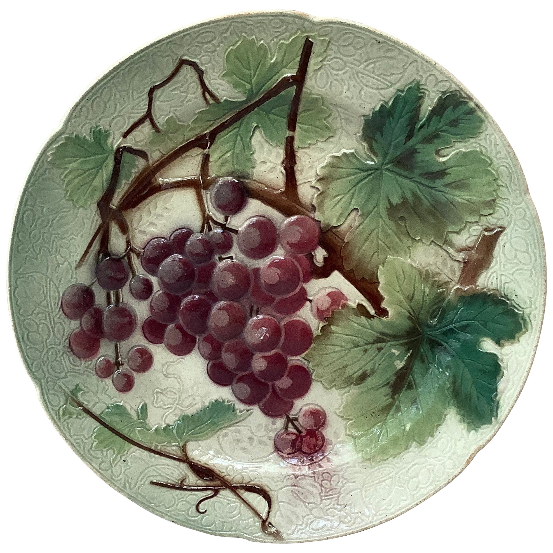 Majolica Grapes Plate Keller & Guerin Saint Clément