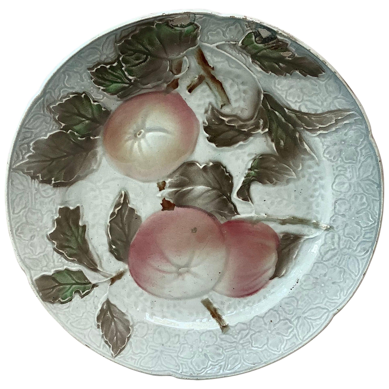 Majolica Apples Plate Keller & Guerin Saint Clément