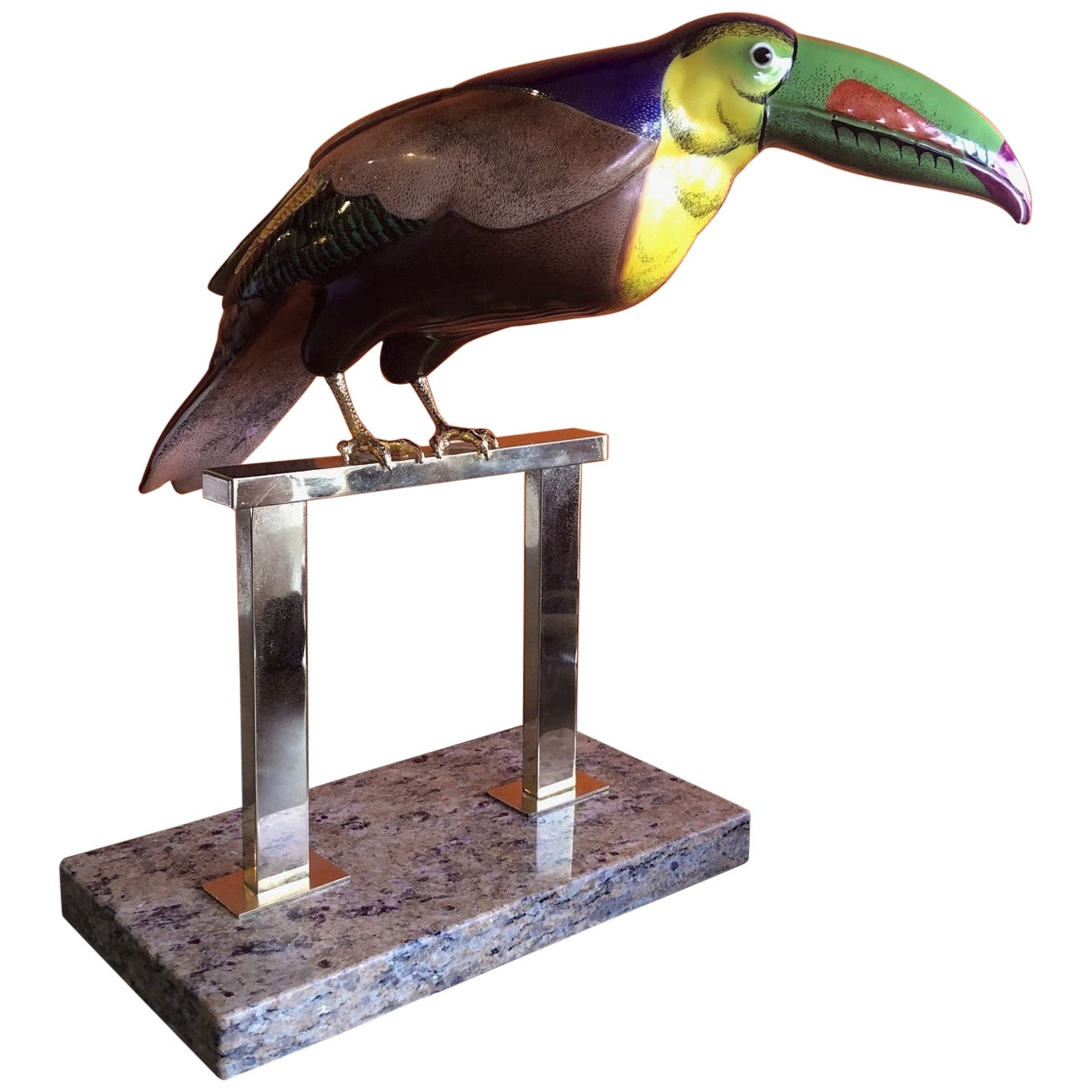 Hand Painted Stylized Toucan Sculpture by Giulia Mangani for Oggetti