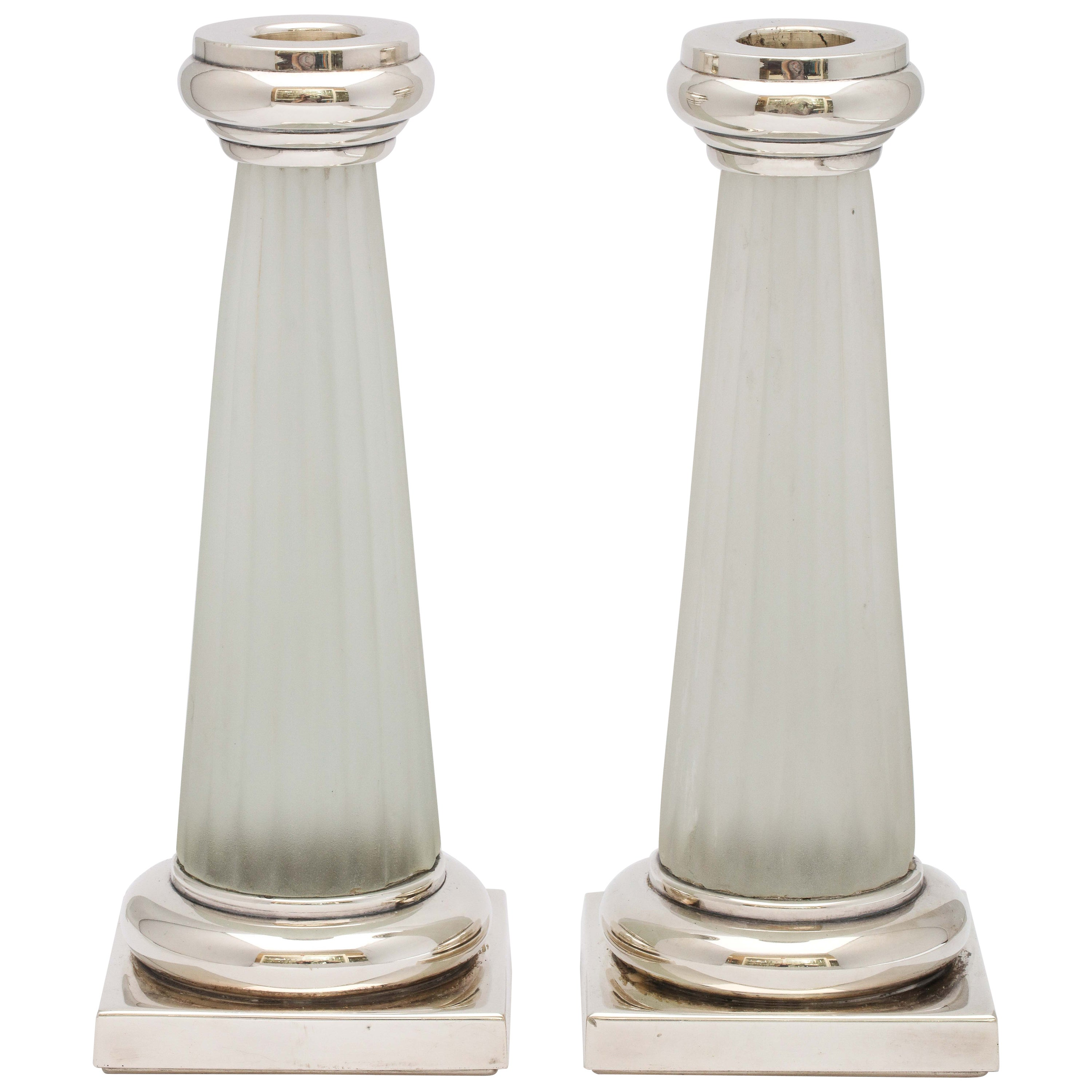 Pair of Neoclassical Style Sterling Silver, Mounted Frosted Glass Candlesticks