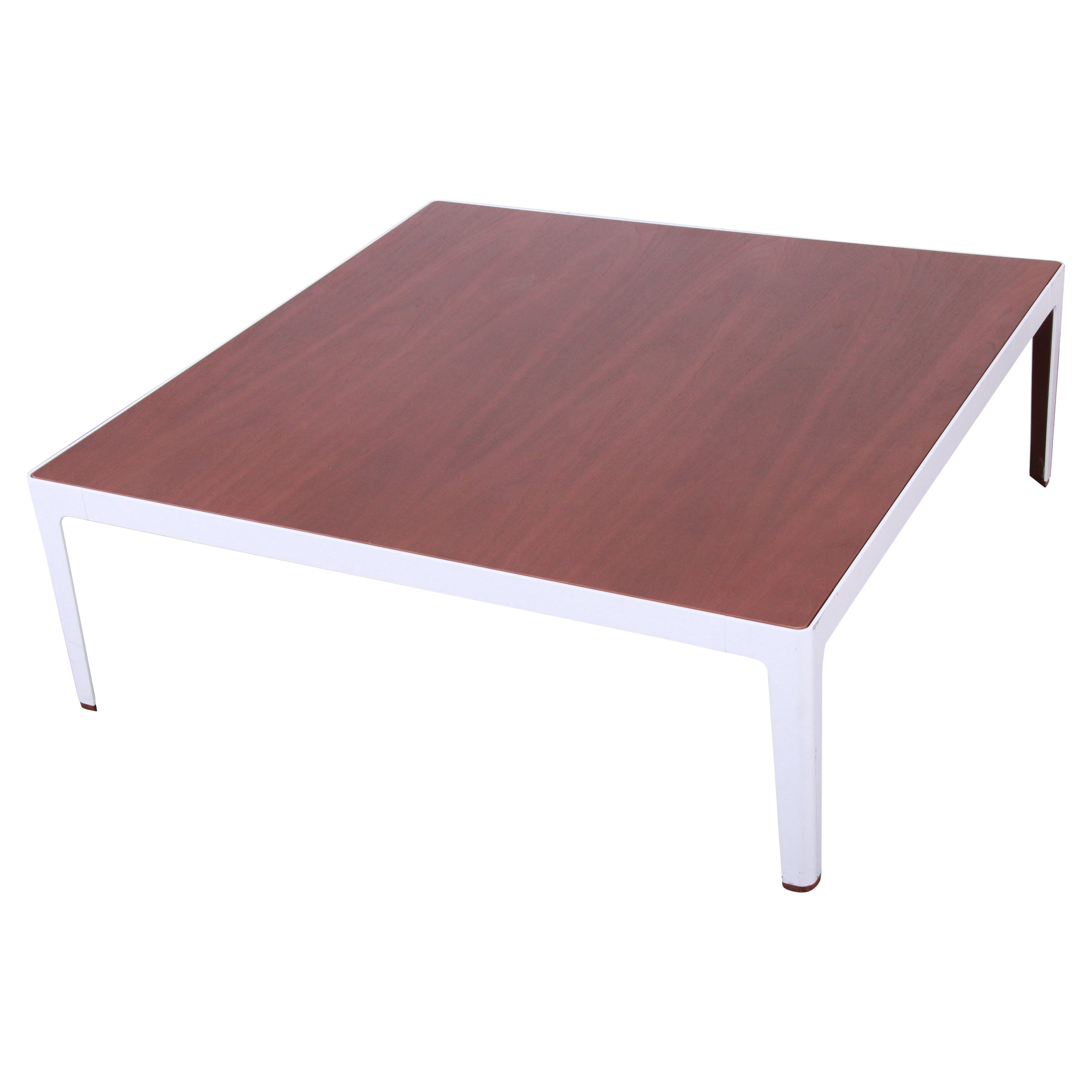 Mid-Century Modern Style Large Square Walnut Coffee Table by Coalesse