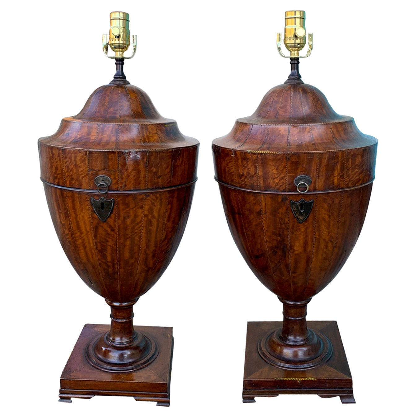 Pair of Early 19th Century George III Satinwood Knife Urns as Lamps