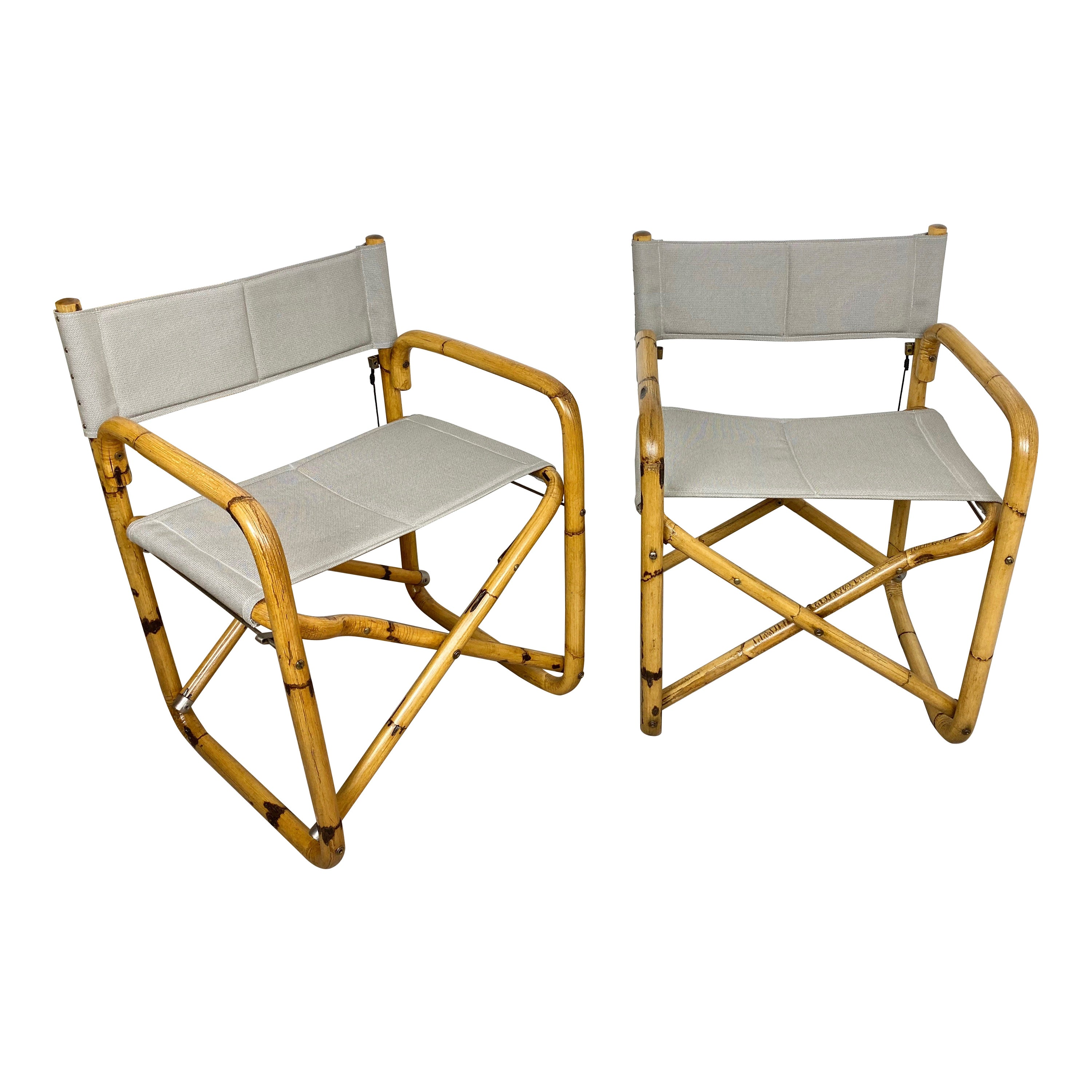 Pair of 1960s Bamboo Folding Directors Chair, Italy