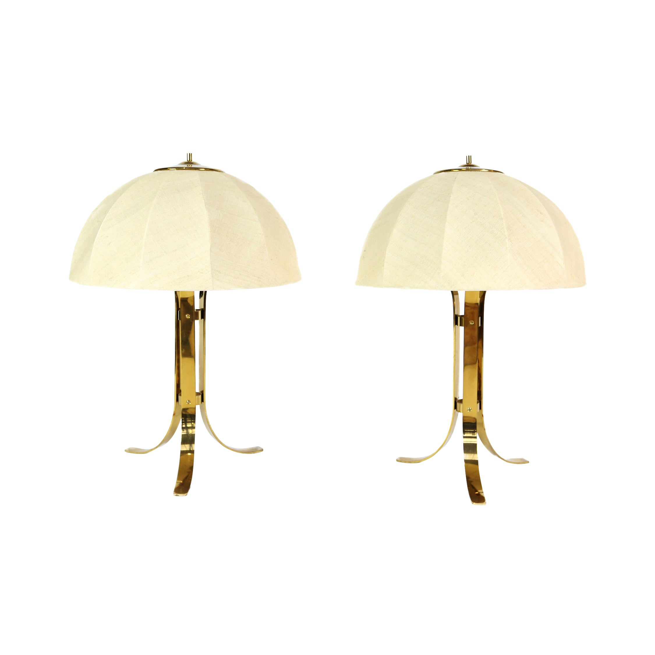 Pair of Brass Table Lamps, Italy, 1960s
