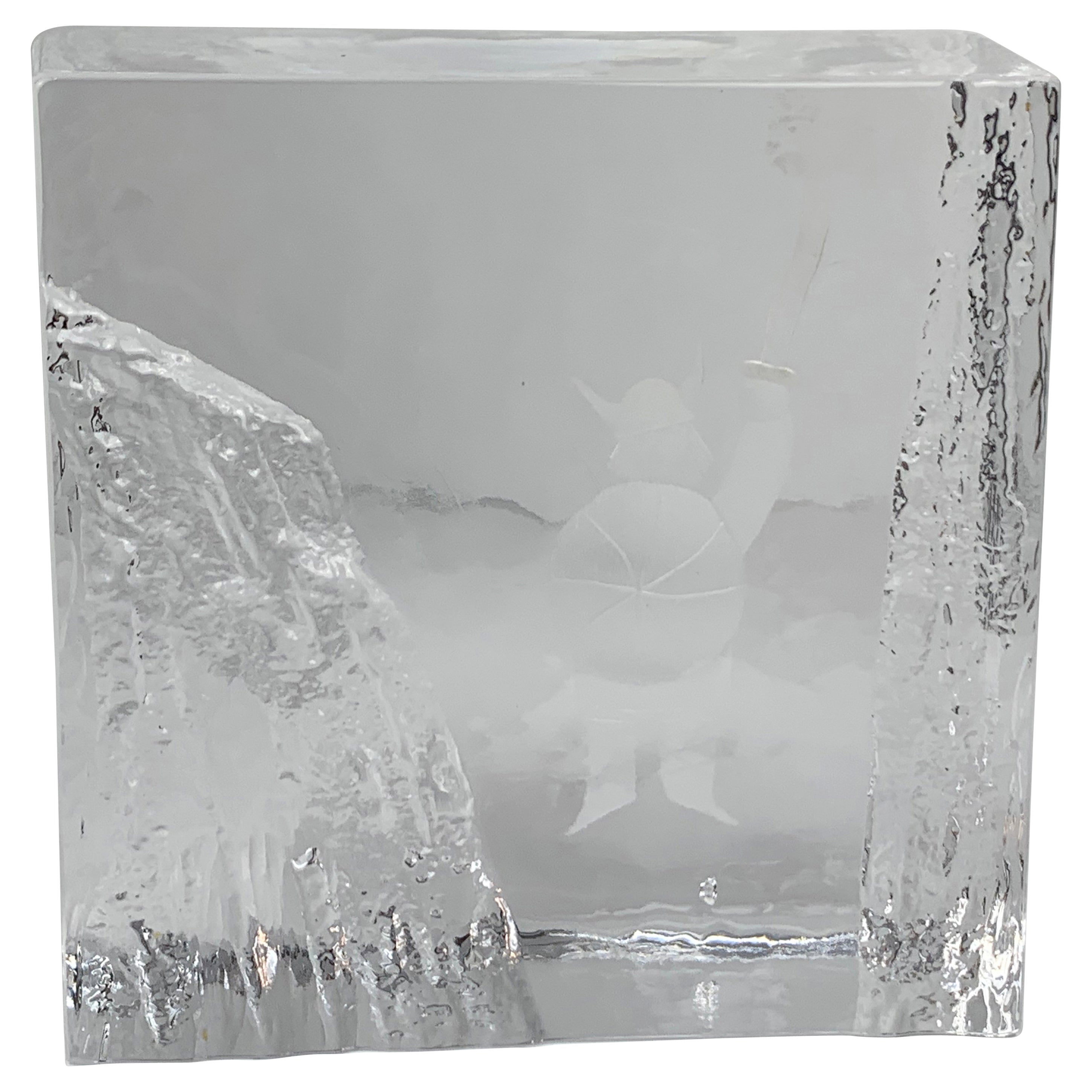 Ice Block Crystal Paperweight-Signed by Bengt Edenfalk for Skruf Glass, Sweden