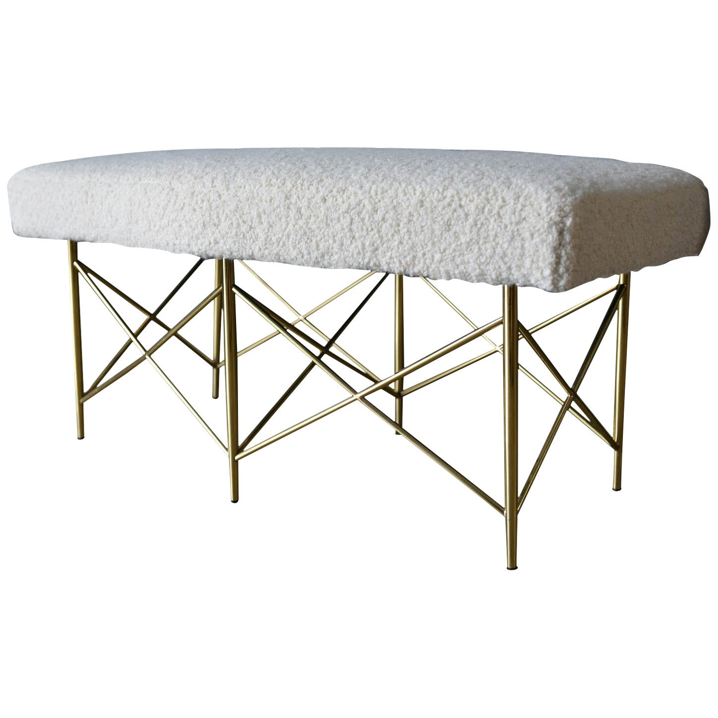 Ivory Bouclé and Brass X-Base Ottoman or Bench, circa 1970