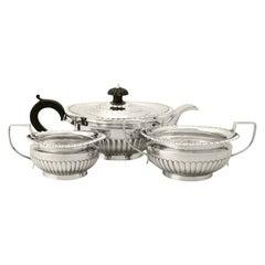 Antique Victorian Queen Anne Style Sterling Silver Three-Piece Tea Service