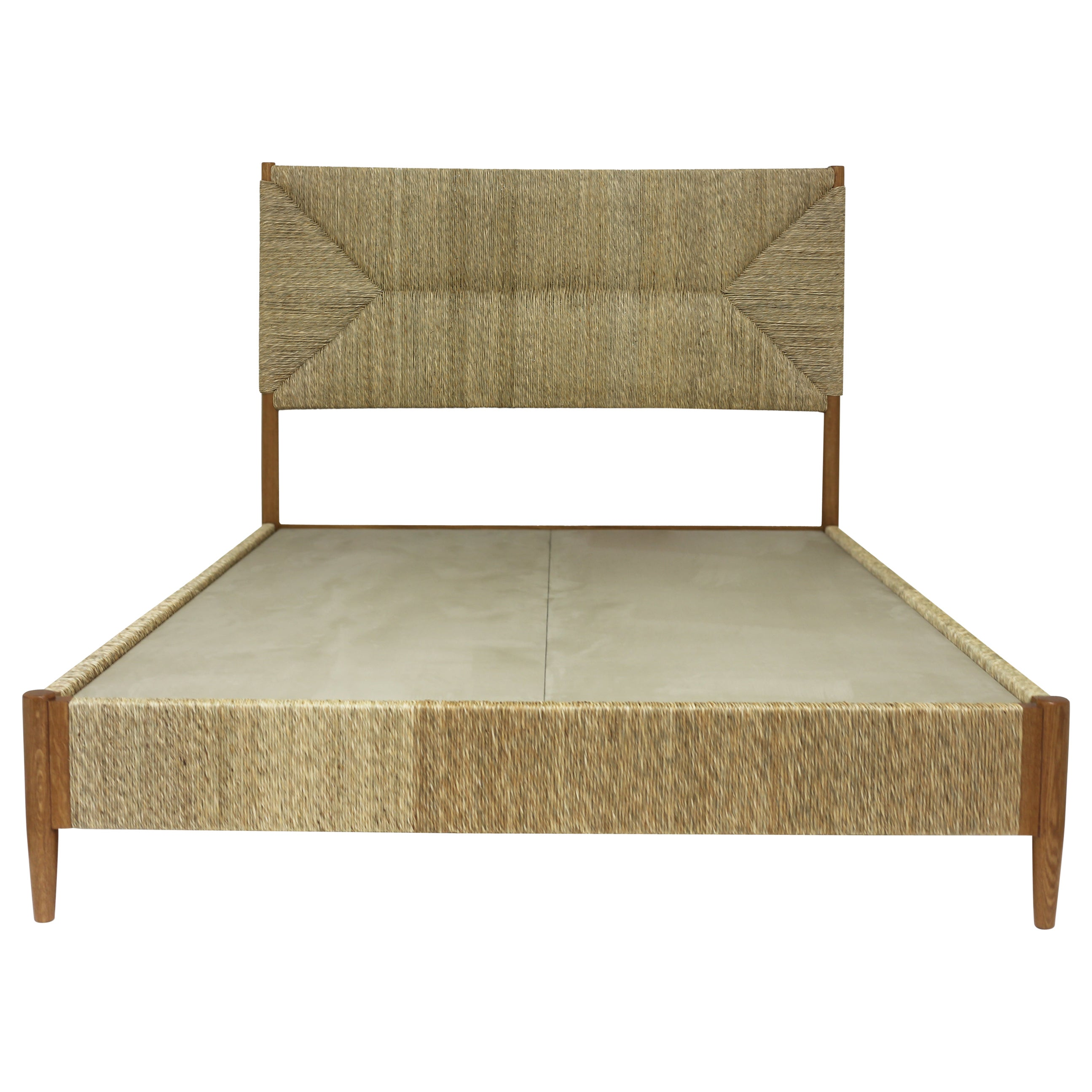 Full Size Bed with Rush Wrapped Headboard Sidetrails and Footrail in Natural Oak