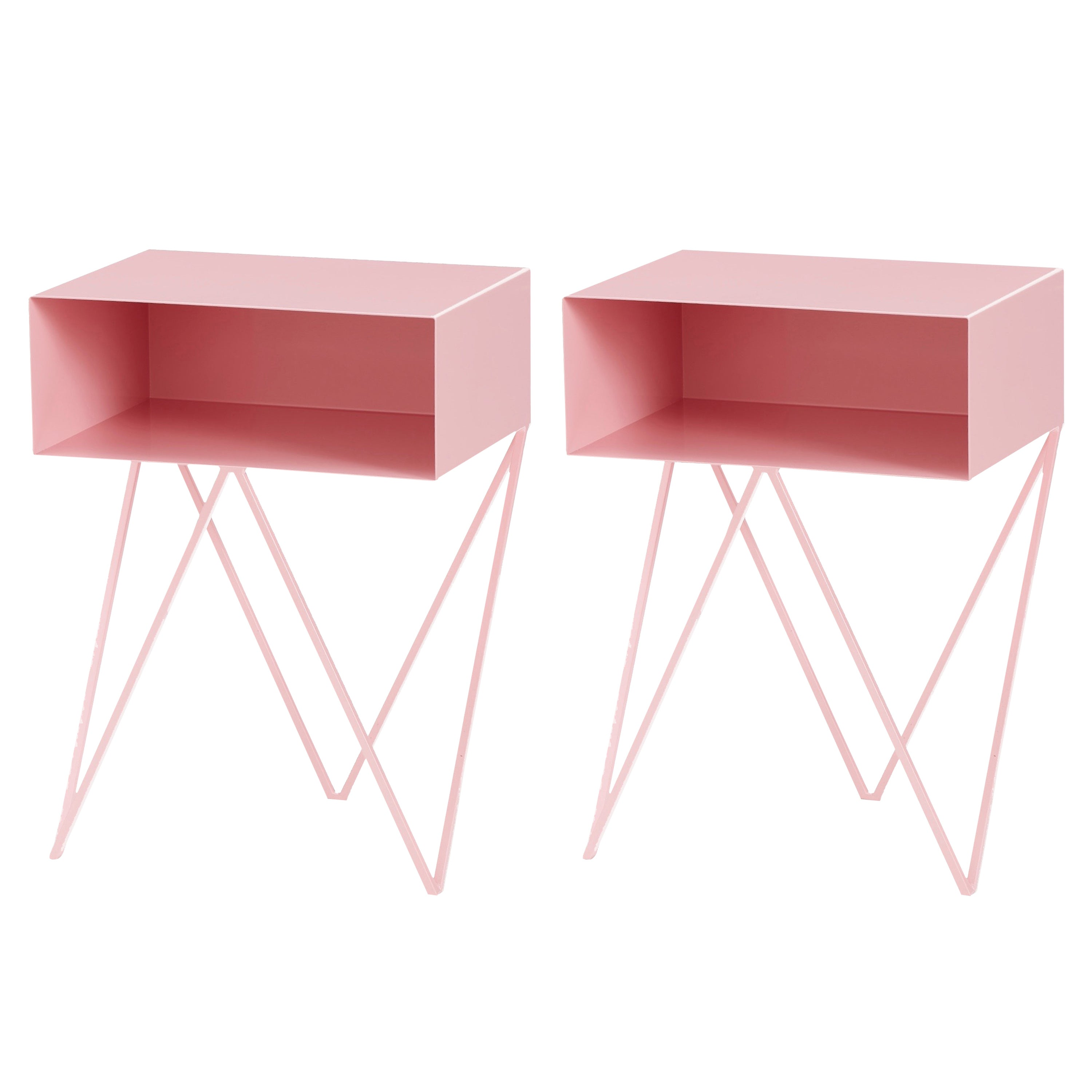 Pair of Pink Powder Coated Steel Robot Bedside Tables