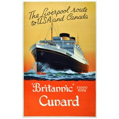 1930s Poster for Cunard Britannic, 'The Liverpool Route to USA and Canada'