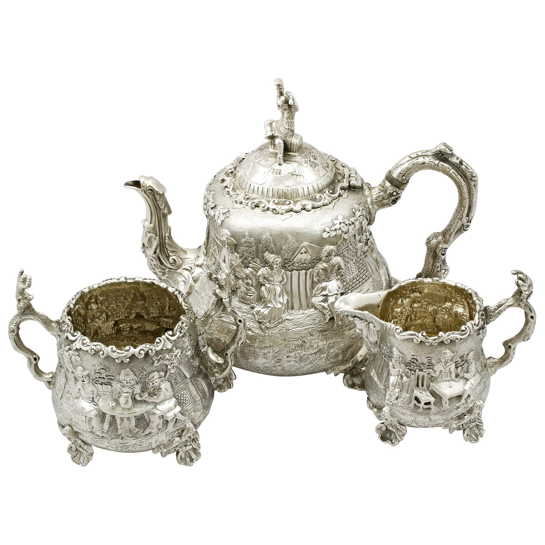 Antique Victorian Sterling Silver Three-Piece Tea Service