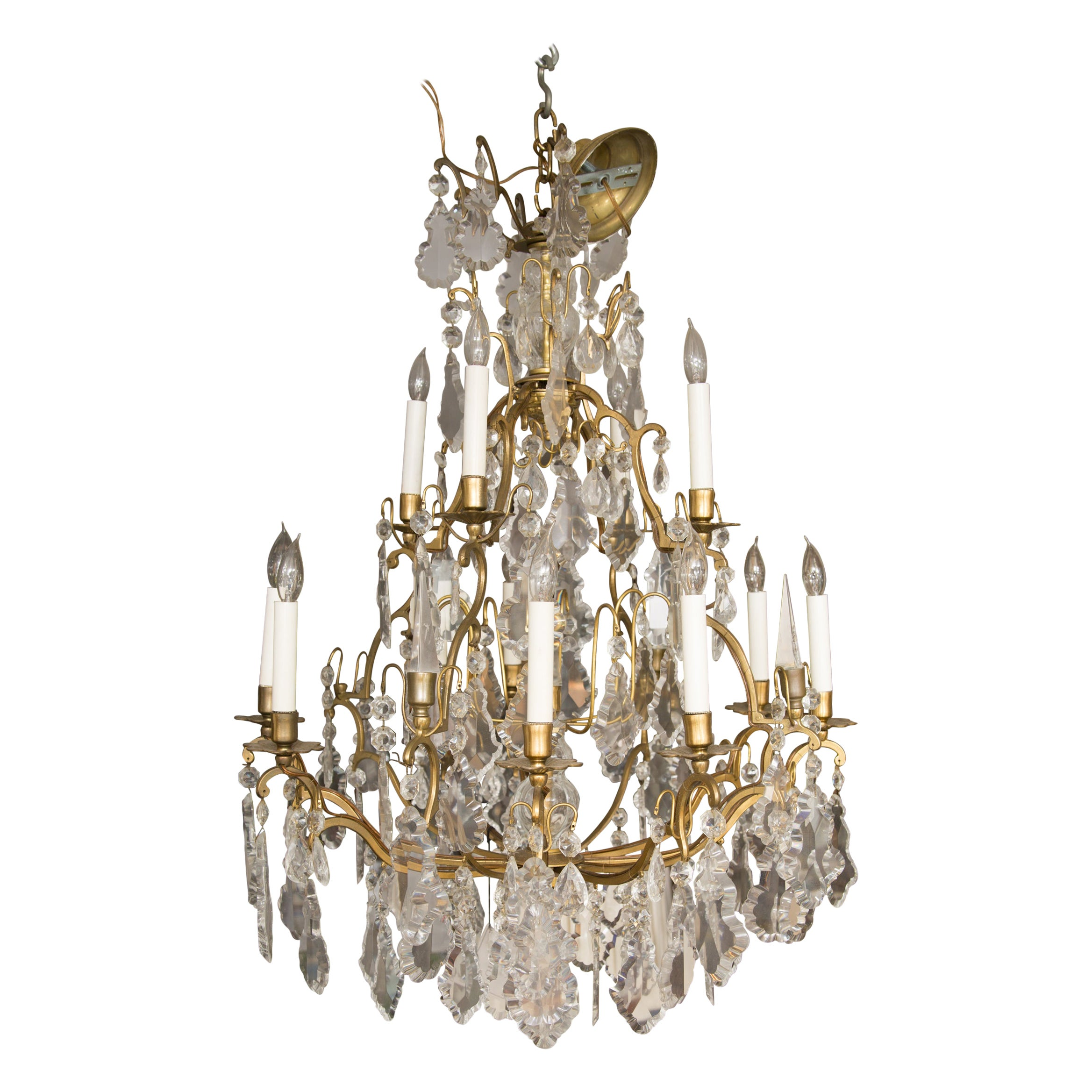Louis XV Style Gilt Bronze Twelve Light Bird Cage Style Electrified Chandelier