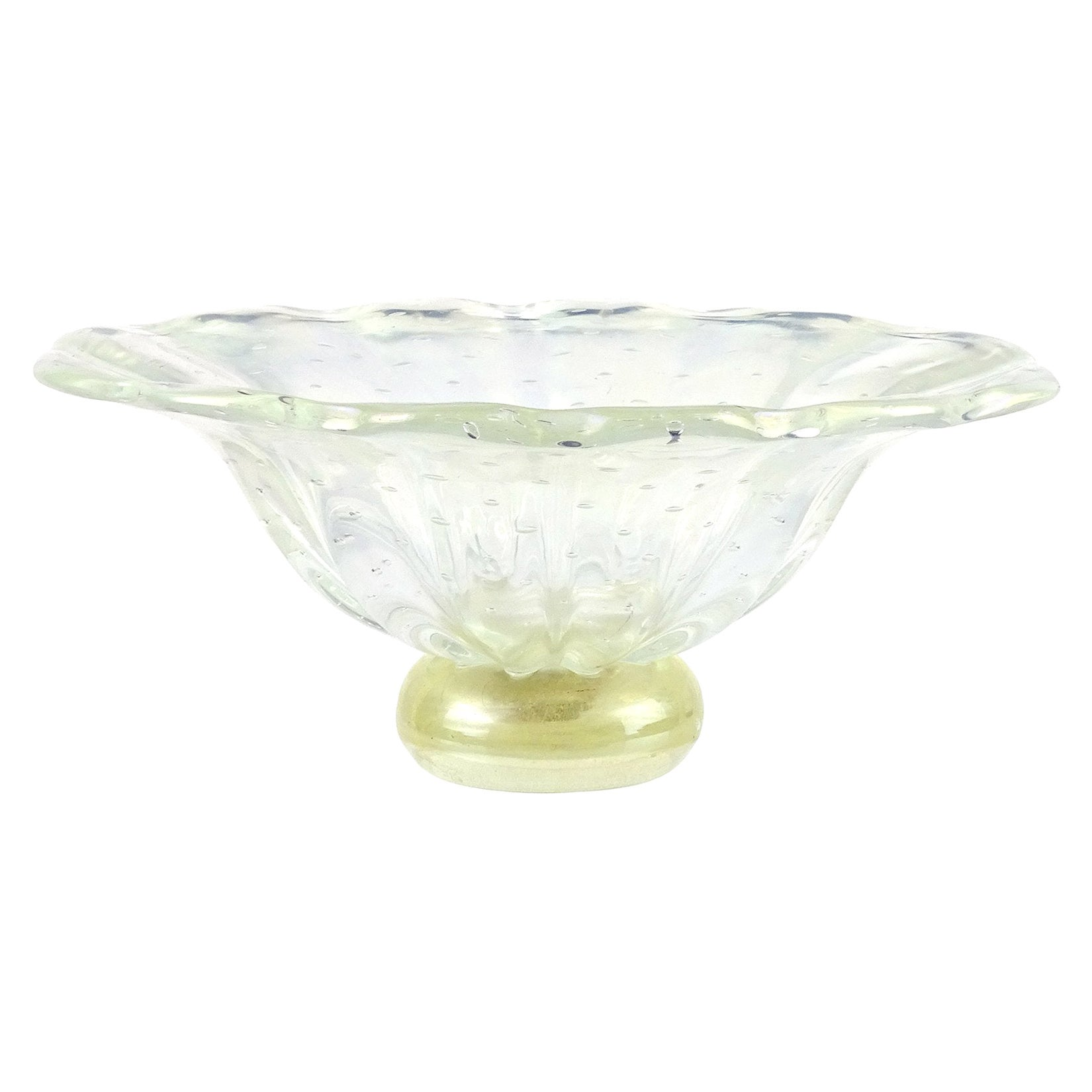 Barovier Toso Murano Iridescent Gold Flecks Italian Art Glass Centerpiece Bowl