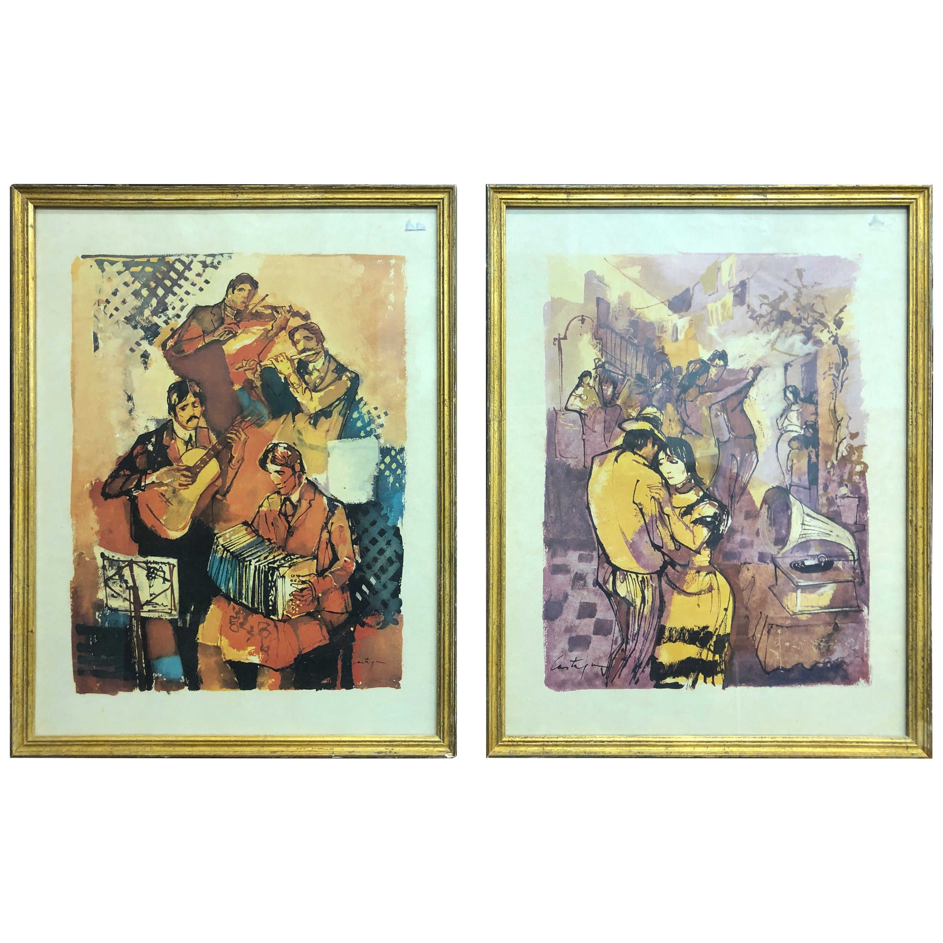 Pair of French Drawings Signed and Framed