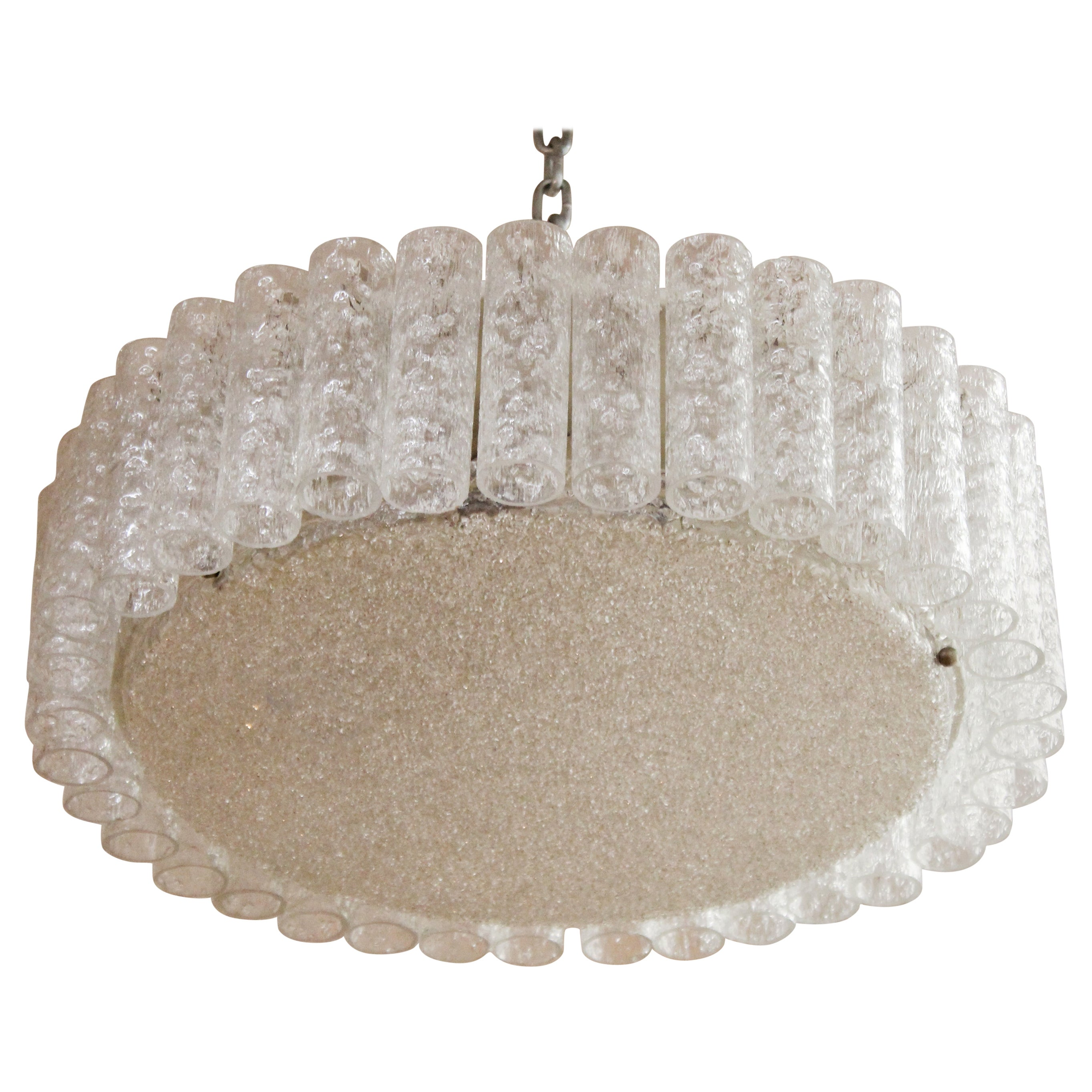 Kalmar Mid-Century Modern Frosted Glass Circular Ceiling Light Pendant
