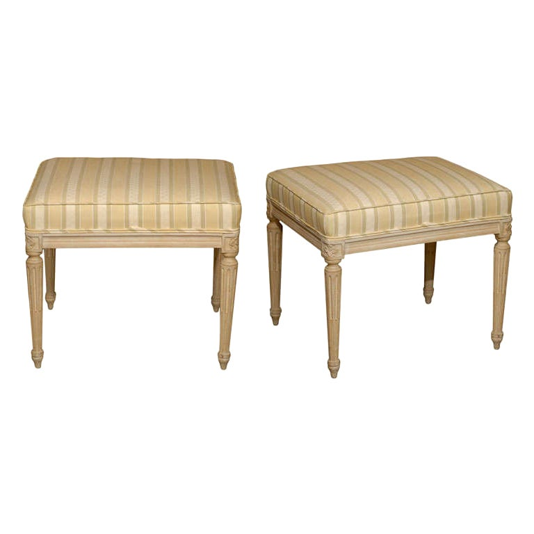 Pair of Mid-20th Century Louis XVI Style Upholstered Stools