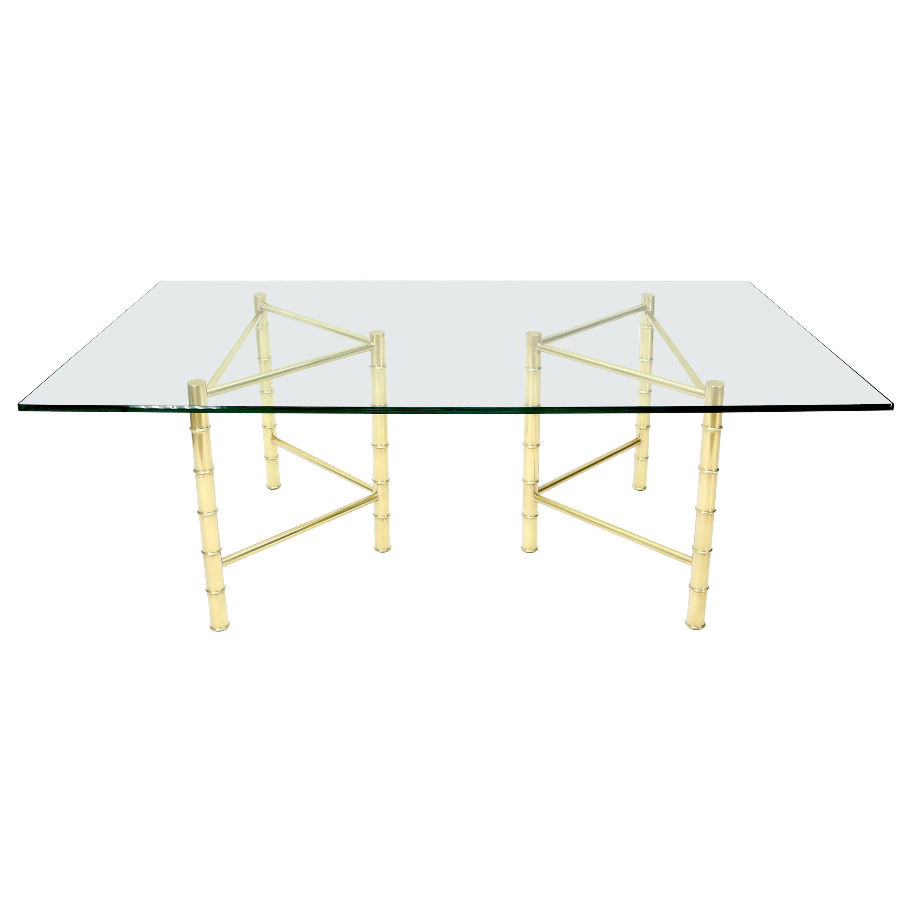 Double Pedestal Faux Brass Bamboo Glass Top Dining Conference Table