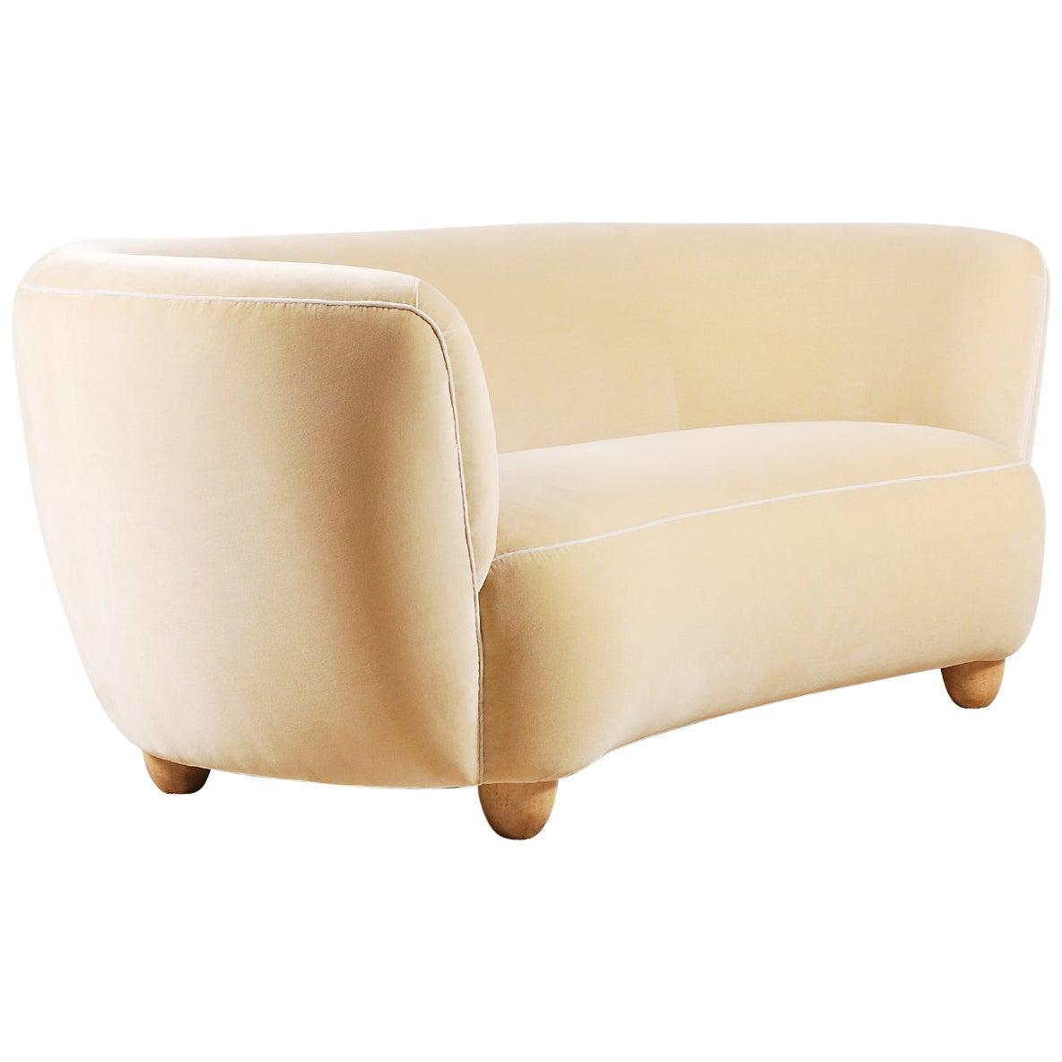 Elegant Three-Seat Danish Curved Sofa, 1940s, New Velvet Upholstery