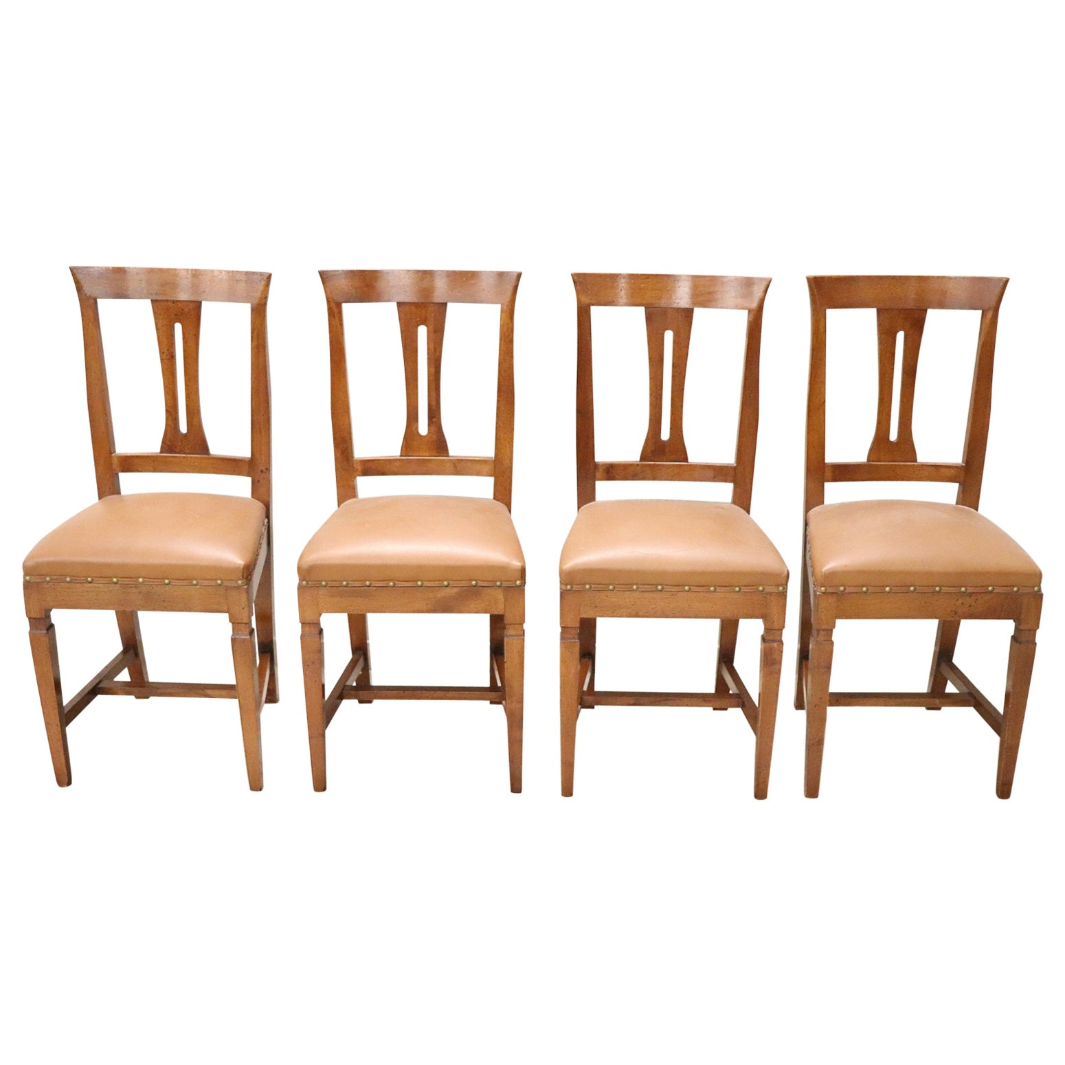 20th Century Italian Louis XVI Style Walnut Wood Four Chairs