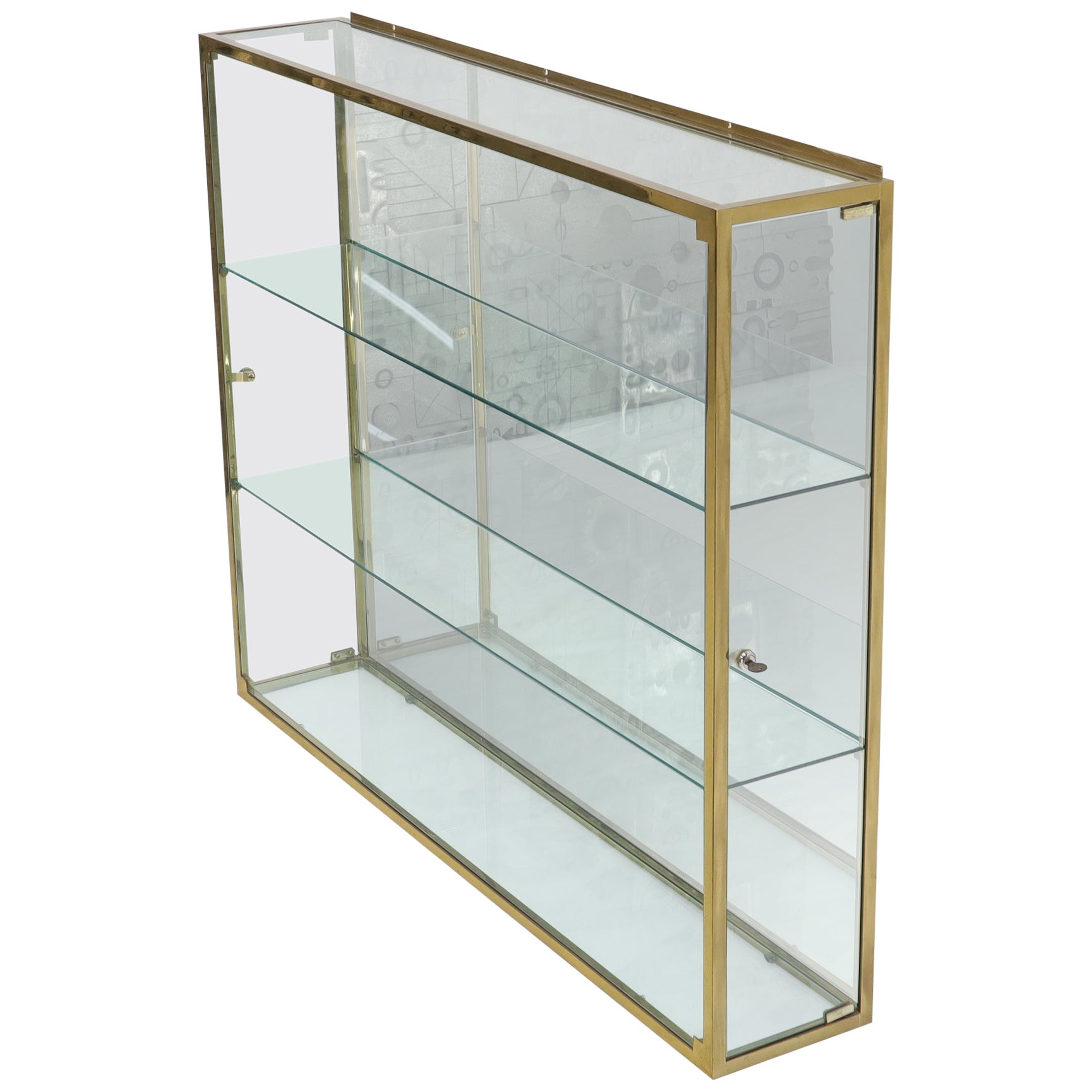 Large Solid Brass Frame Square Hanging Wall Unit Display Case Shelves Unit