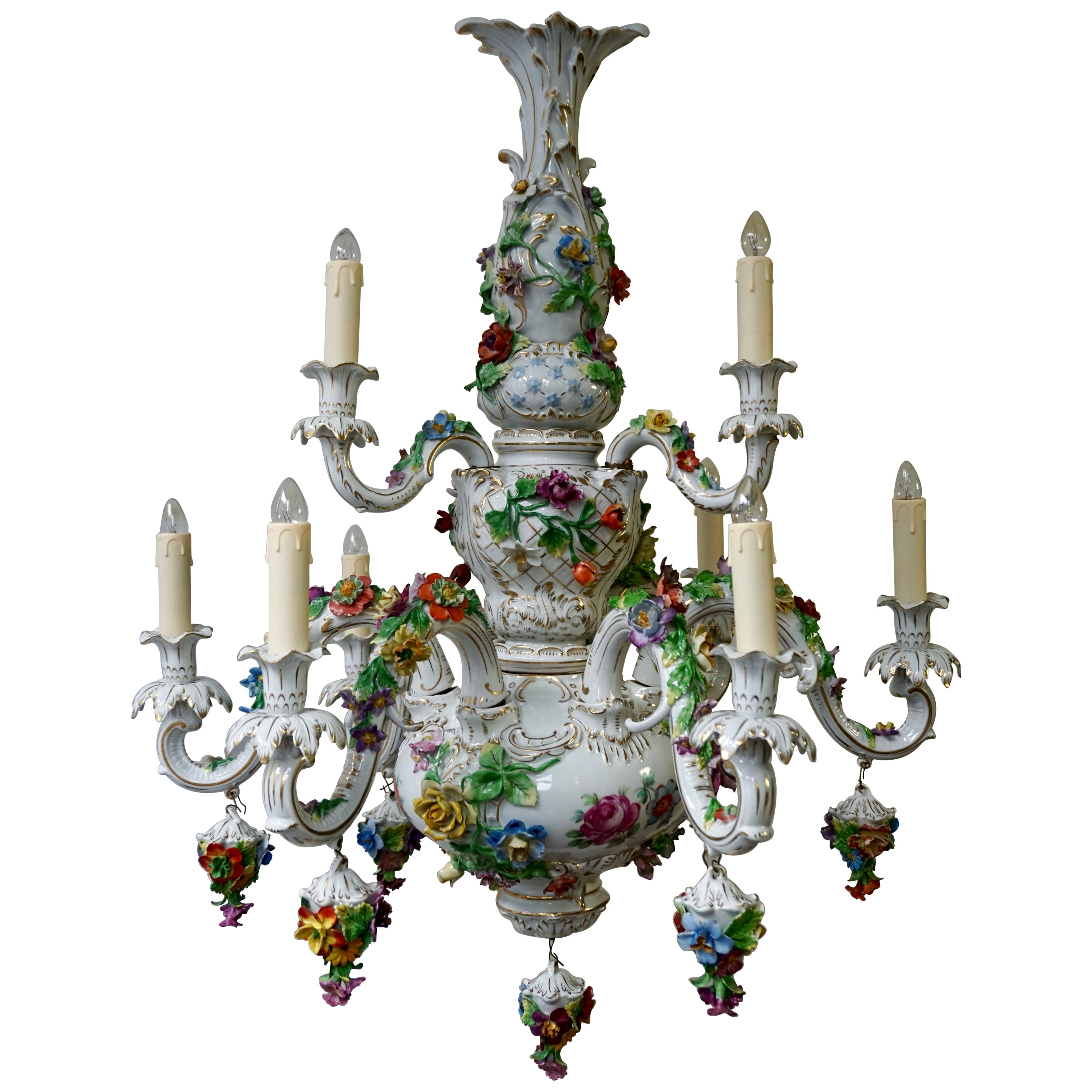 Spectacular Large Italian Rococo Style Porcelain Floral Chandelier