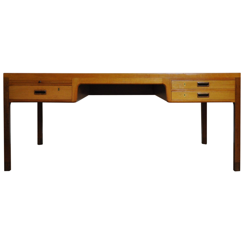 Scandinavian Modern Mahogany Desk by Ejnar Larsen and Aksel Bender Madsen