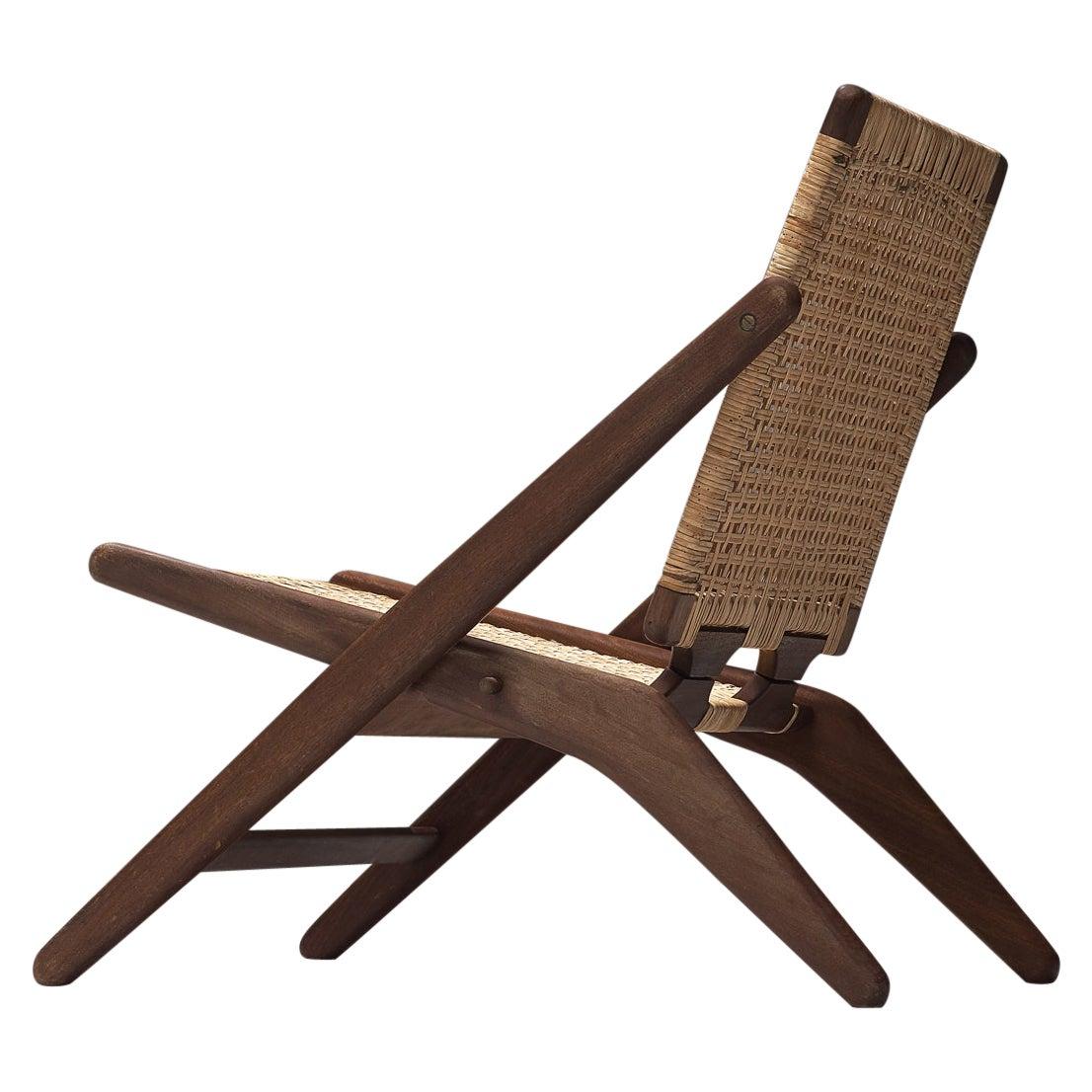 Danish Easy Chair in Wood and Wicker by Arne Hovmand-Olsen