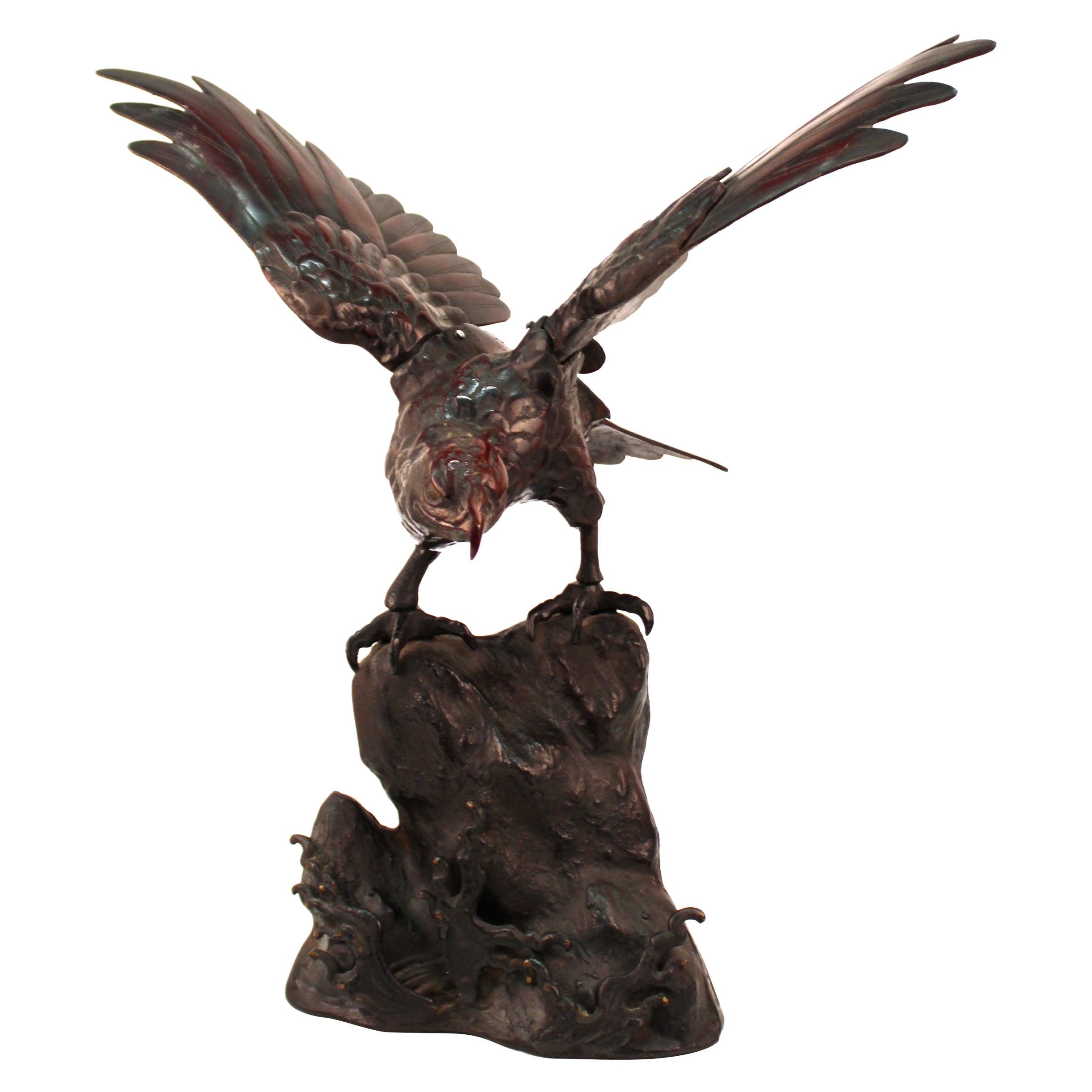 Japanese Taisho Bronze Eagle