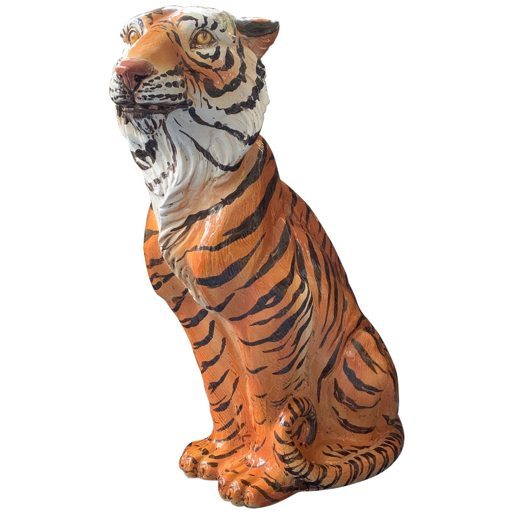 Large Midcentury Glazed Ceramic Tiger Statue