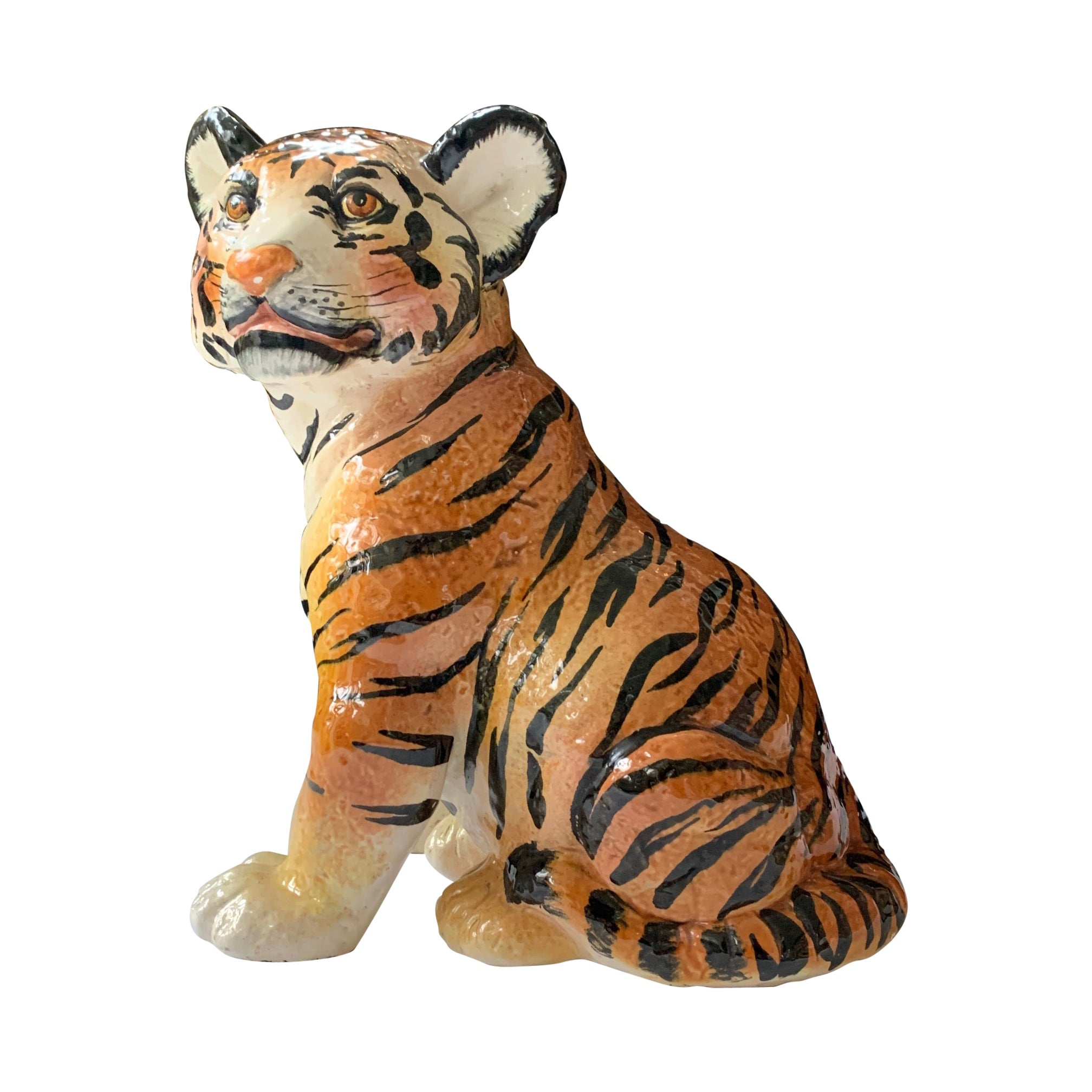 Ceramic Glazed Tiger Statue