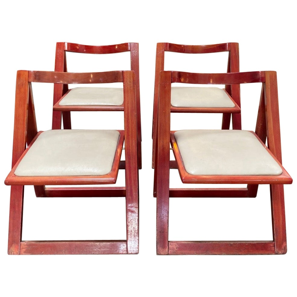 """Set of 4 Jacober & d'Aniello """"Trieste"""" Folding Chairs for Bazzani, 1966, Italy"""
