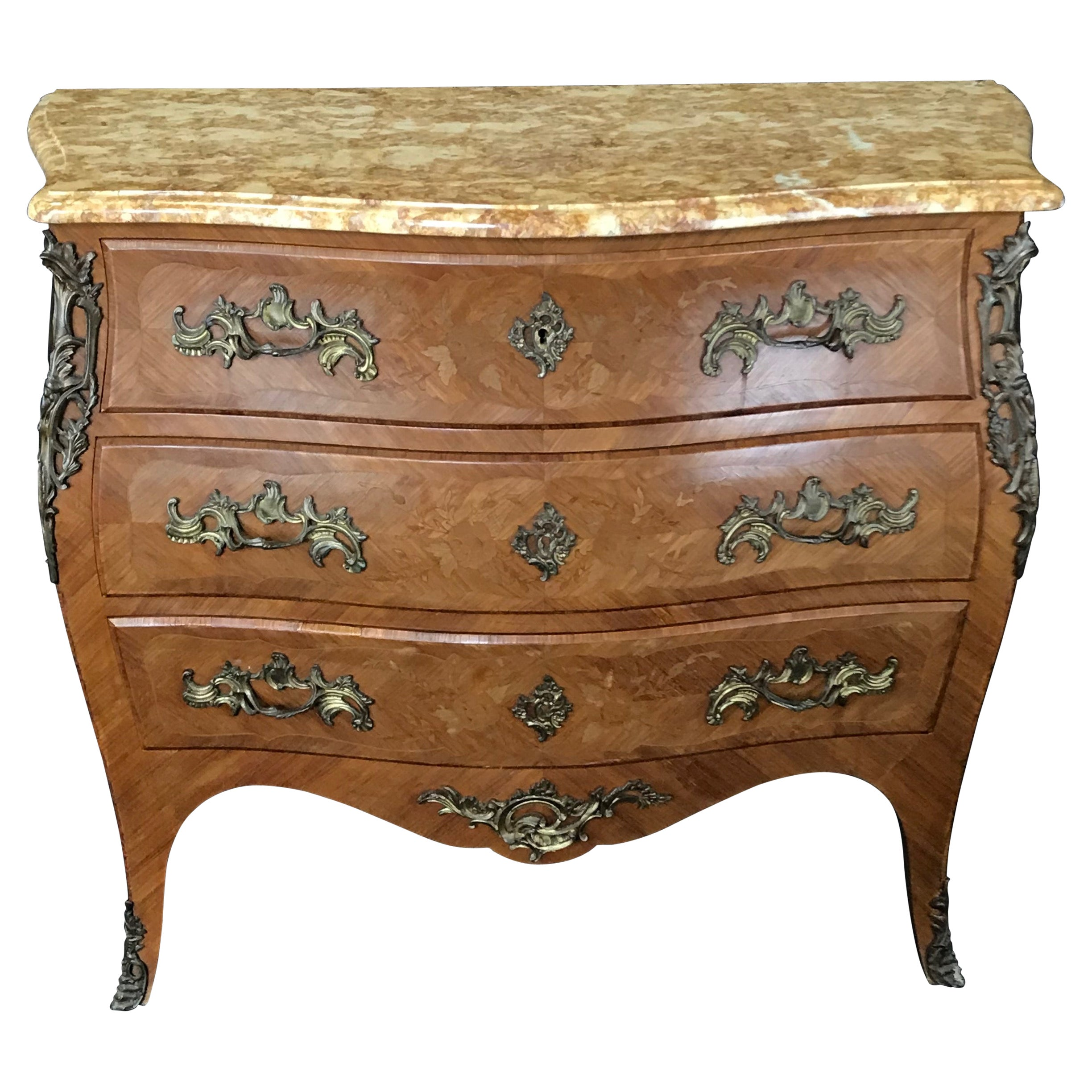 French Louis XV Marquetry 19th Century Walnut Commode with Marble Top