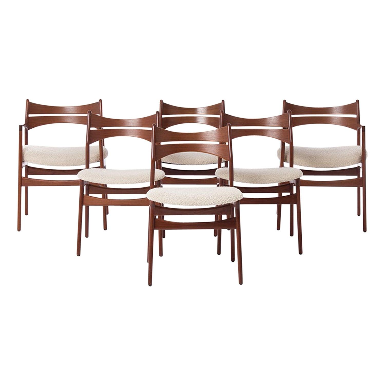 Danish Modern Dining Chairs by Erik Buch, Set of Six