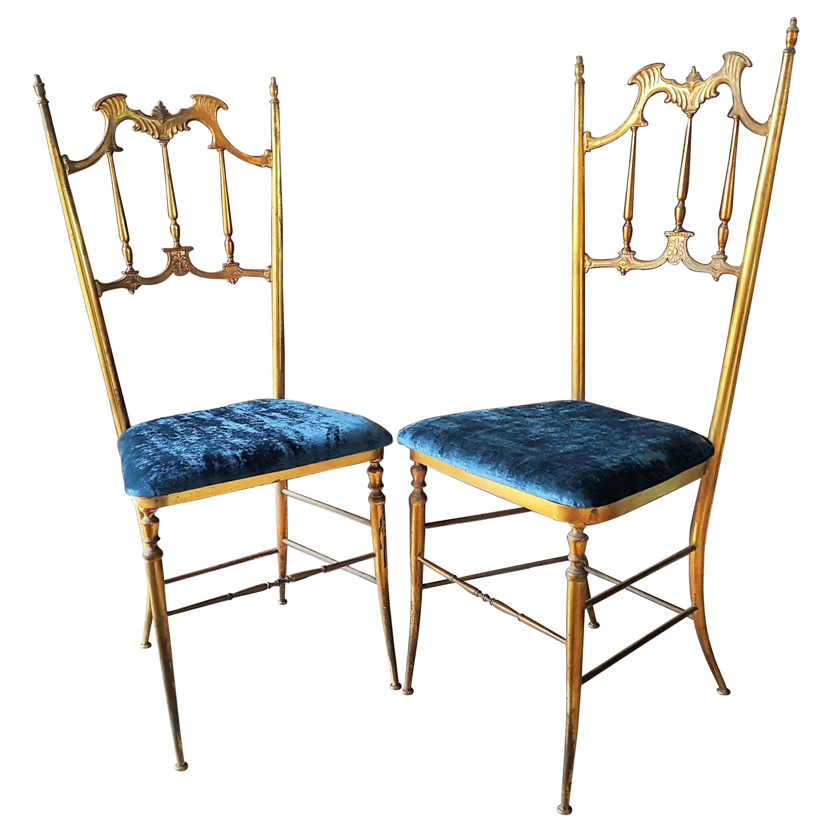 Midcentury Pair of Brass Italian Chiavari Chairs, Italy, 1950s