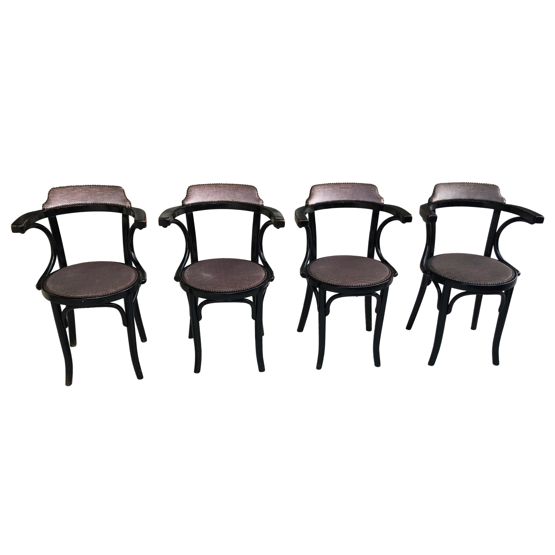 Thonet Chairs in Black Ebony, Set of 4