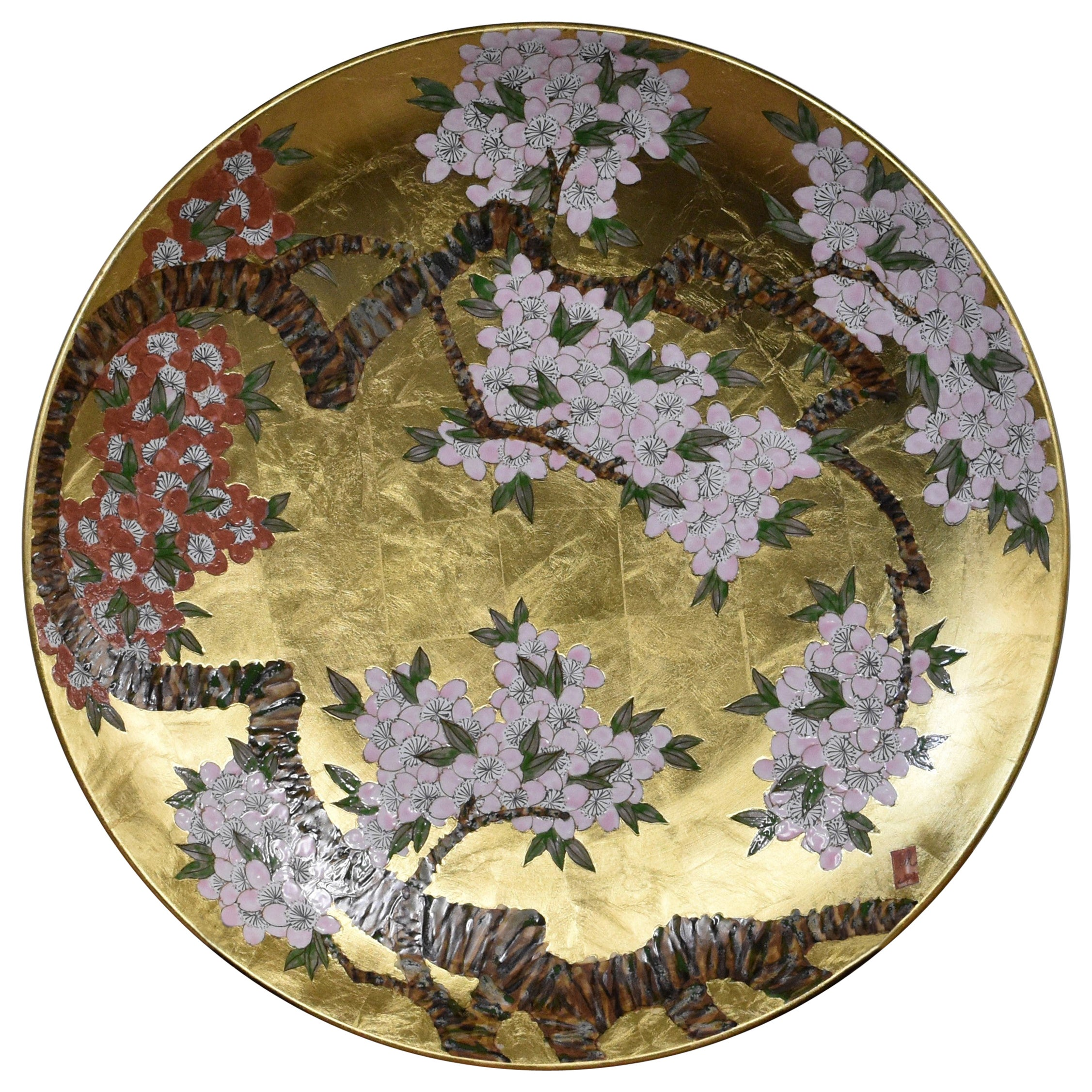 Red Pink Gold Porcelain Charger by  Contemporary Japanese Master Artist