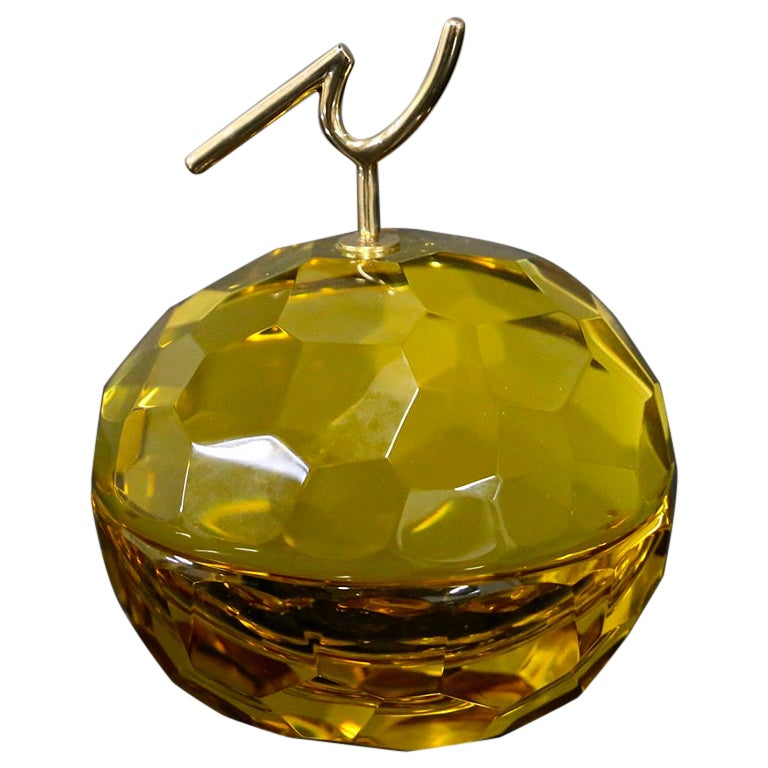 Ghirò Studio Jewel Box in Brass and Glass Yellow, 2019