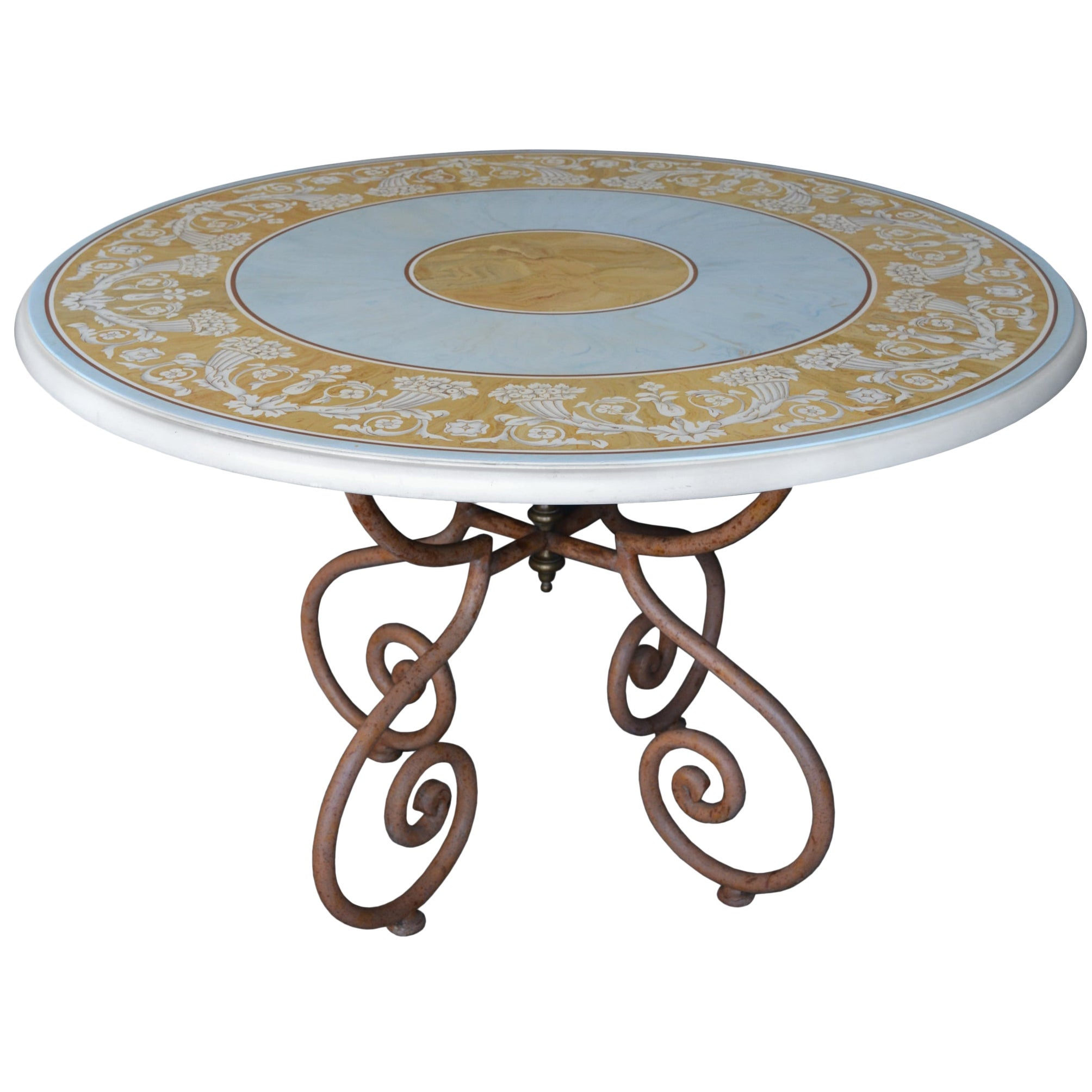 Round Classic Dining Table light blue Scagliola Art Inlay Wrought Iron Base